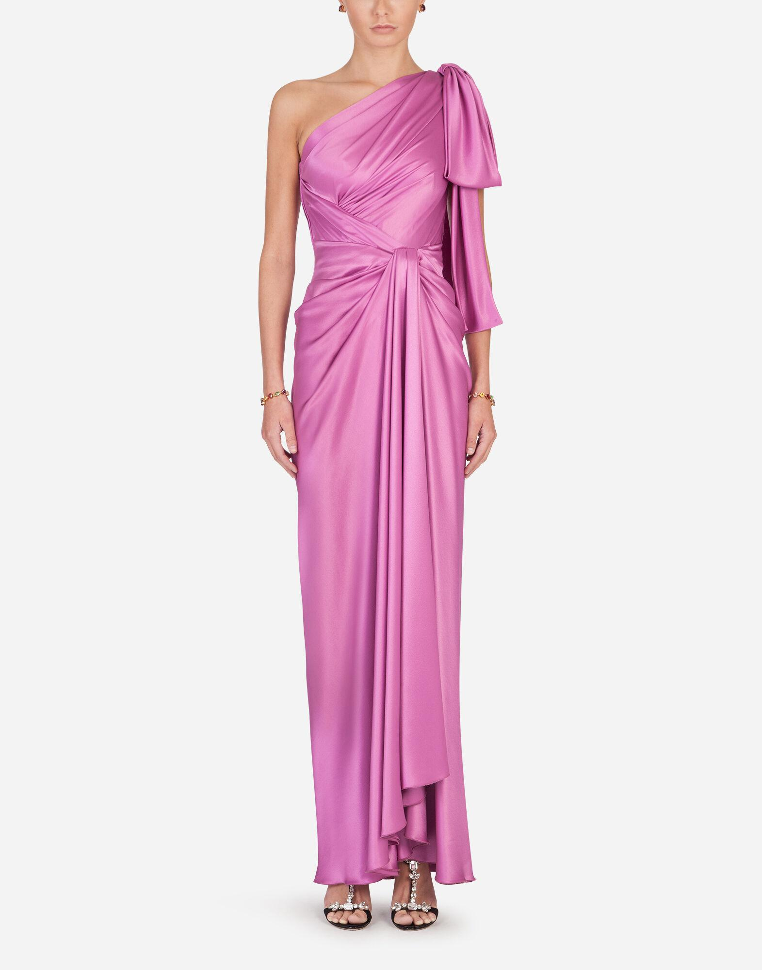 Long one-shoulder silk dress with bow detail