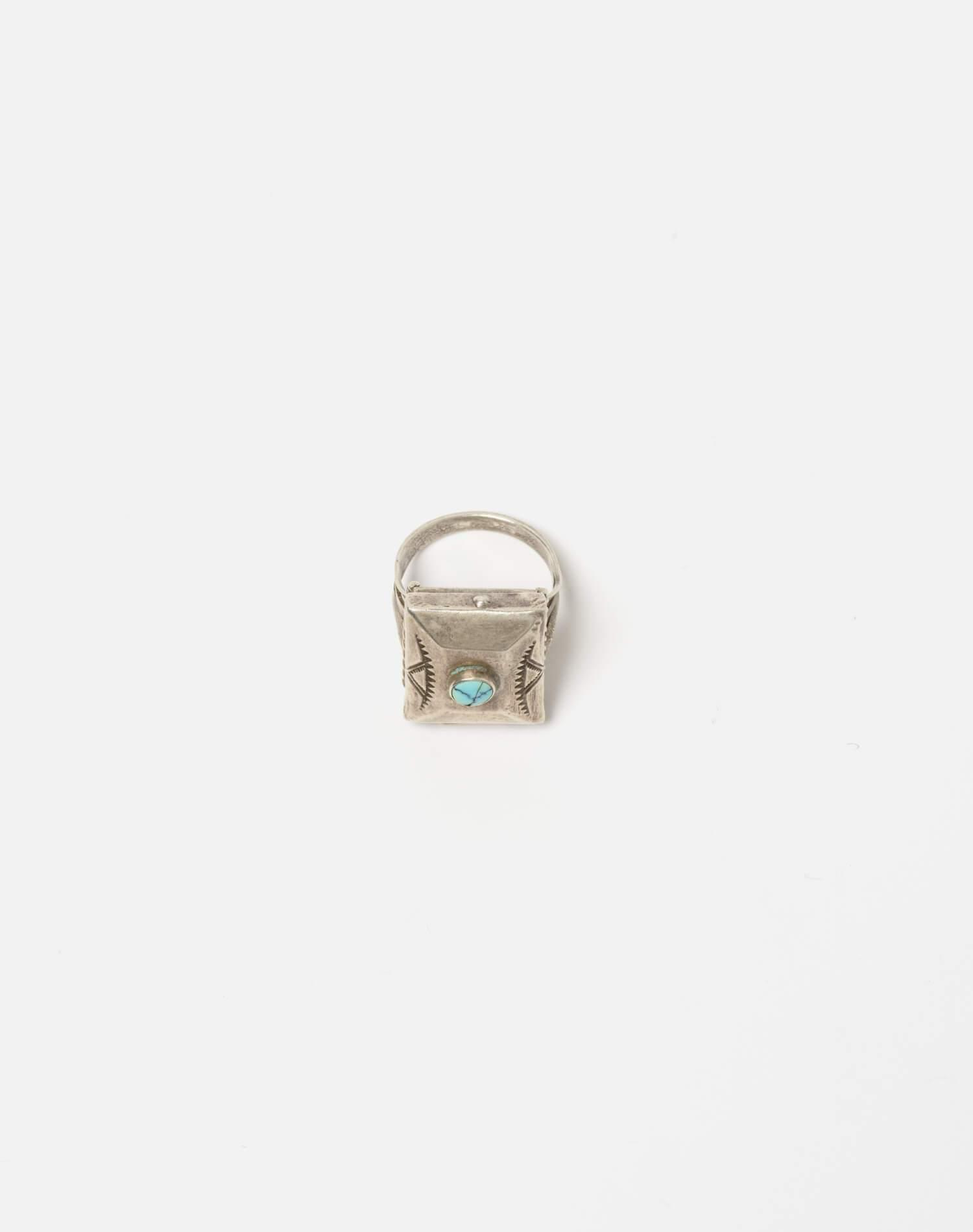 1940s Navajo Sterling And Turquoise Stash Box Ring - #99 4