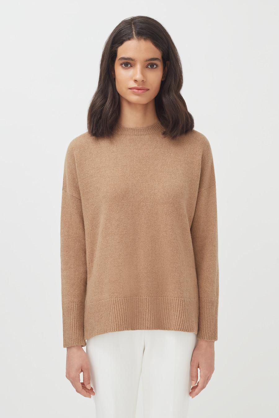 Women's Recycled Crewneck Sweater in Camel | Size: 1