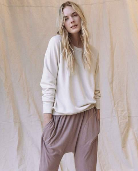 The College Sweatshirt and The Cropped Sweatpant Set. -- Washed White 0