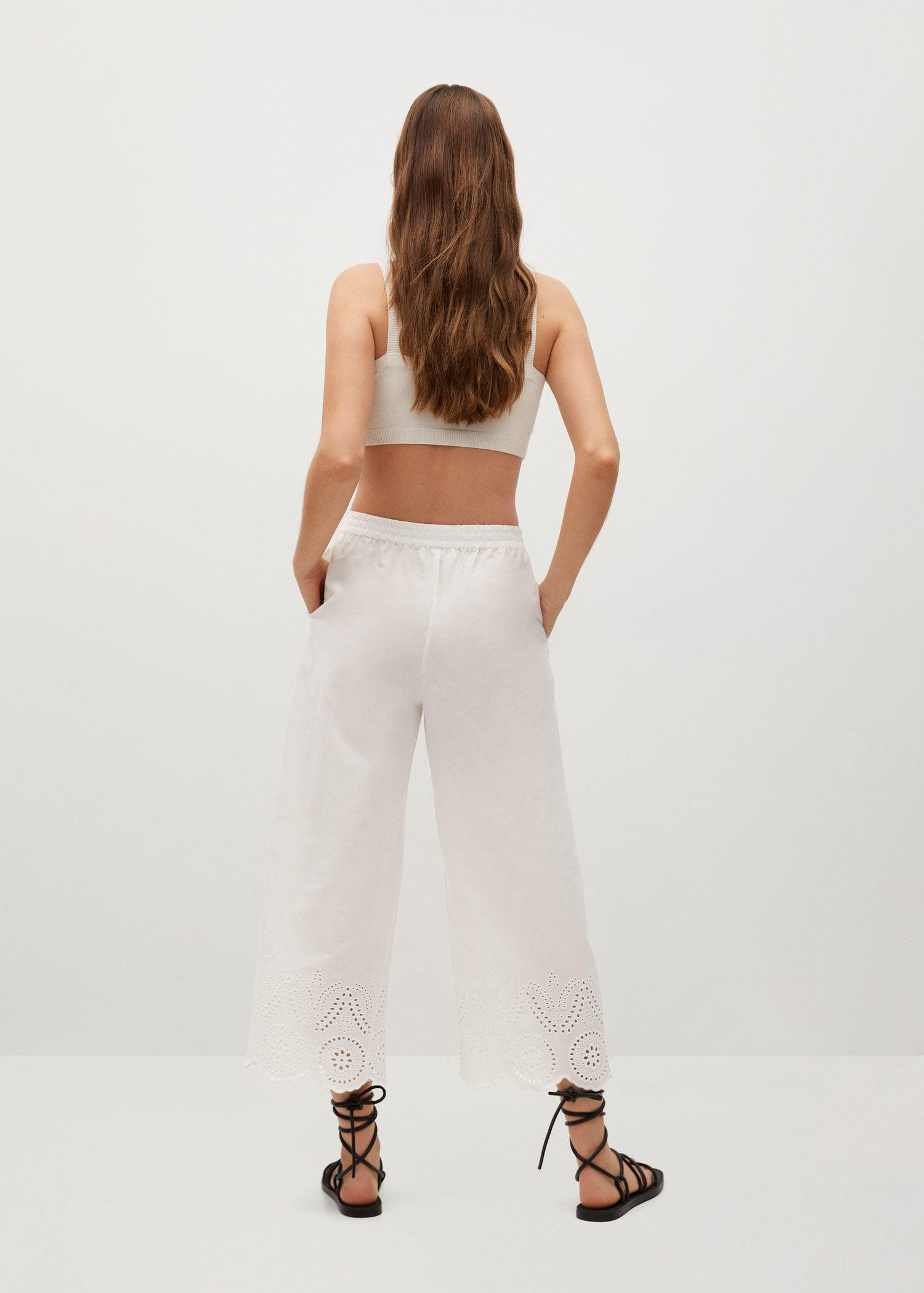 Broderie anglaise cotton pants 2