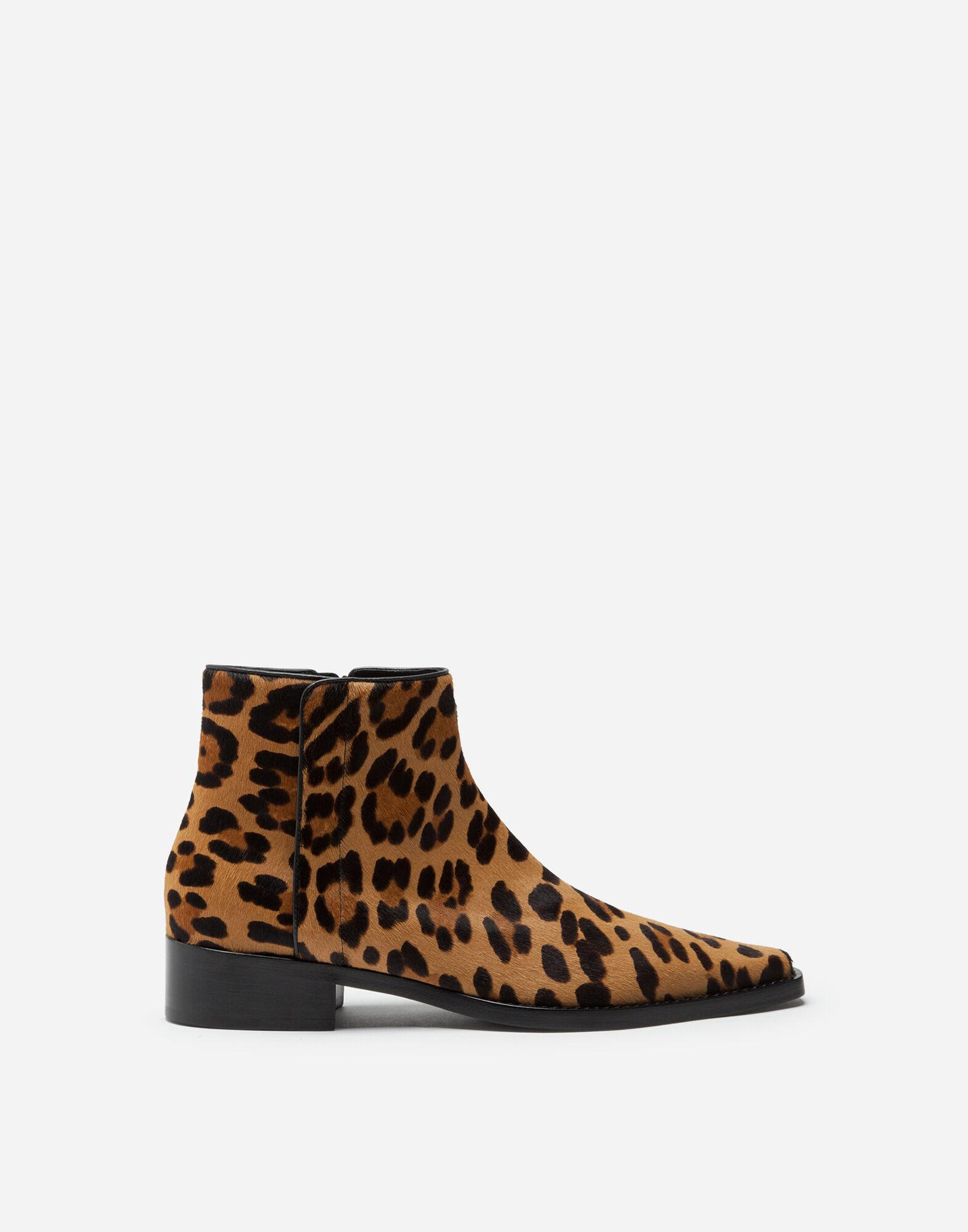 Leopard-print pony hair ankle boots