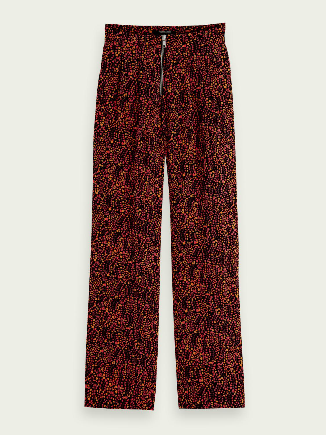 Printed mid-rise trousers 6