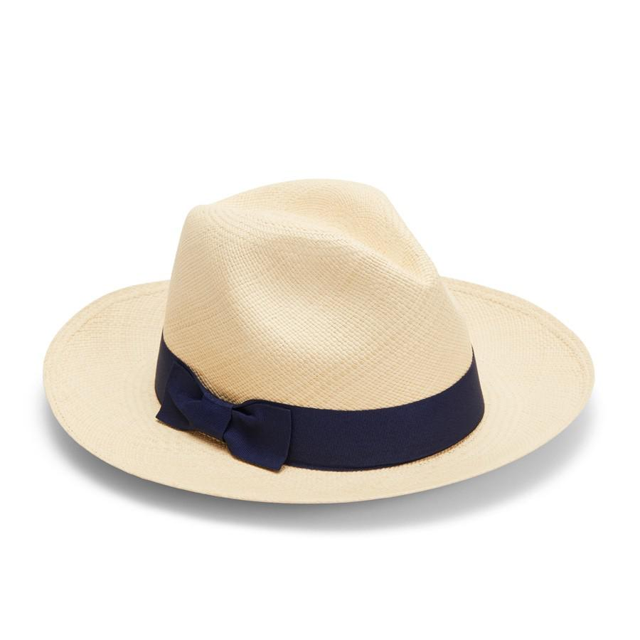 Women's Panama Hat in Natural/Navy | Size: 59 | Toquilla Straw by Cuyana