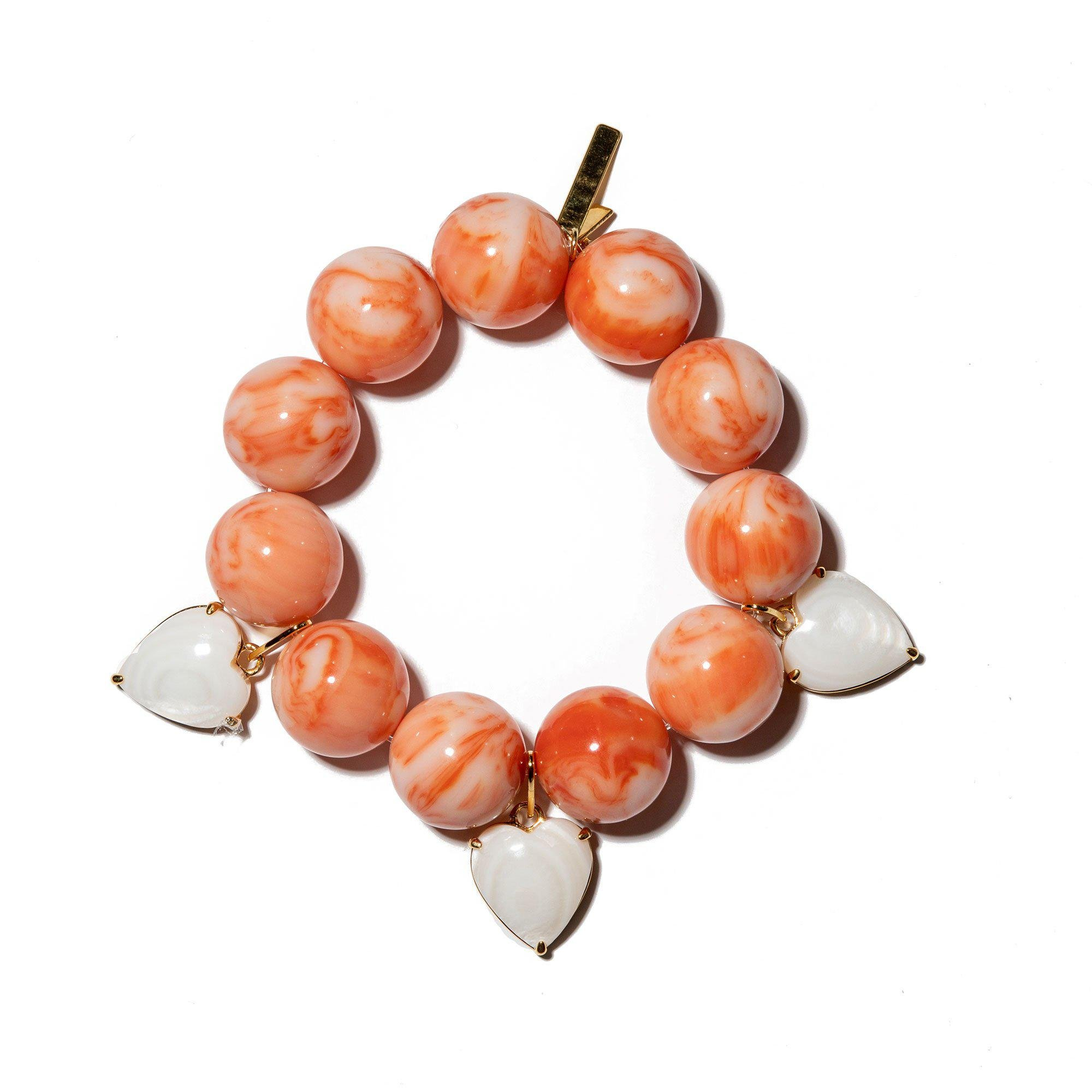 CORAL HEART CHARM COUNTRY CLUB BRACELET