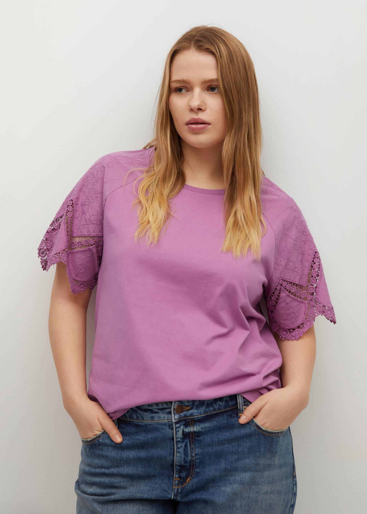 Embroidered sleeve T-shirt 1