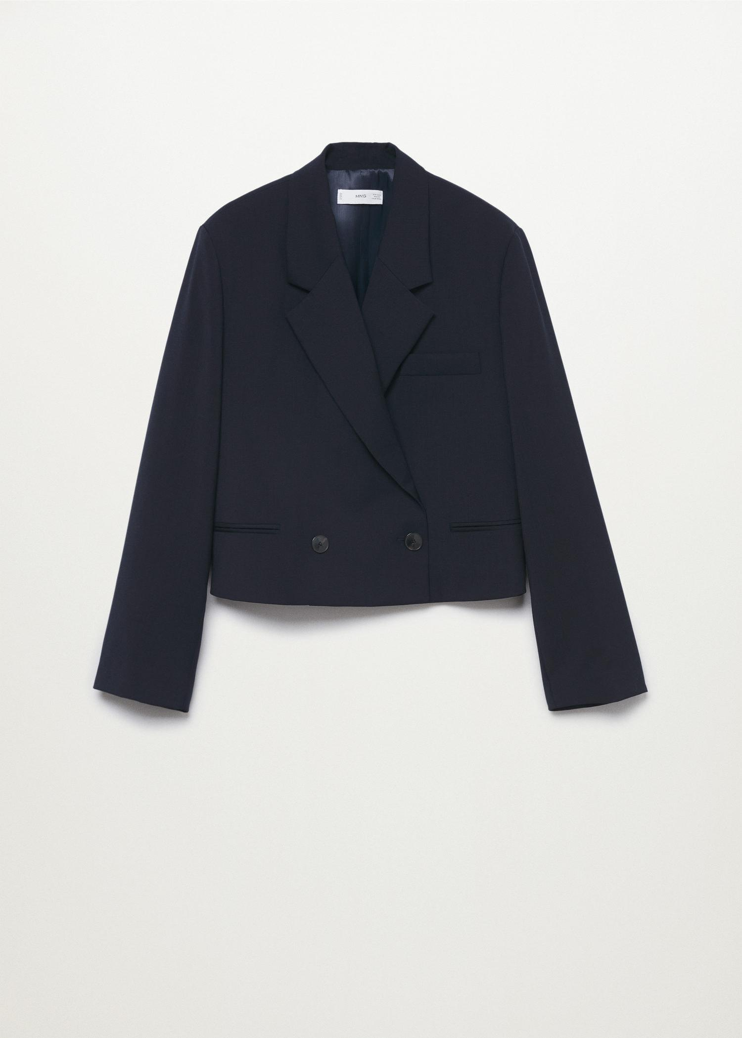 Cropped blazer with buttons 7
