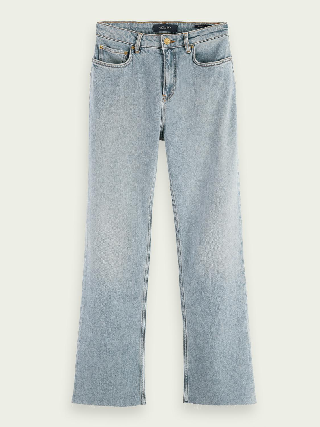 High-rise cropped flare denim trousers 5
