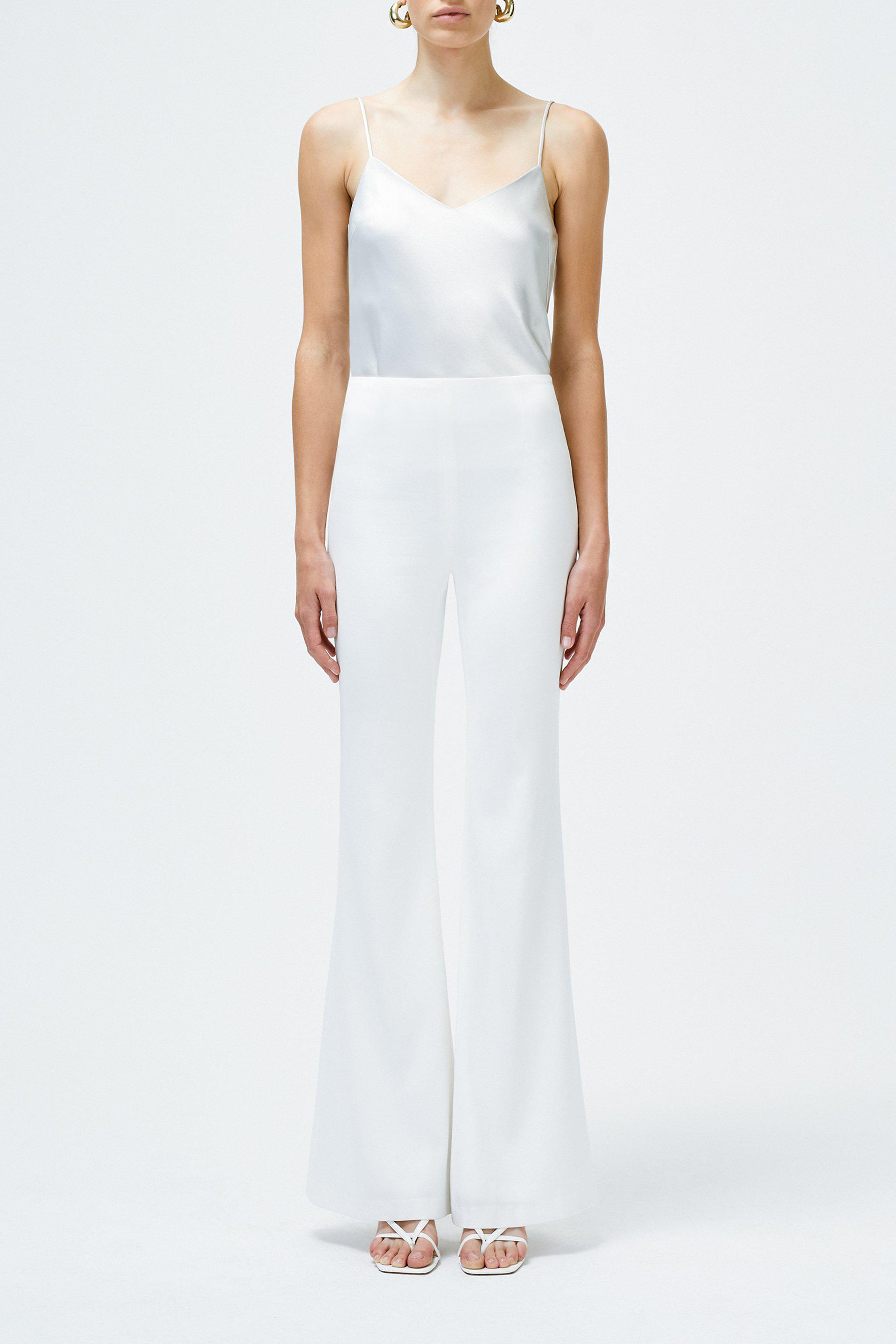 Matte High Waisted Trousers - White