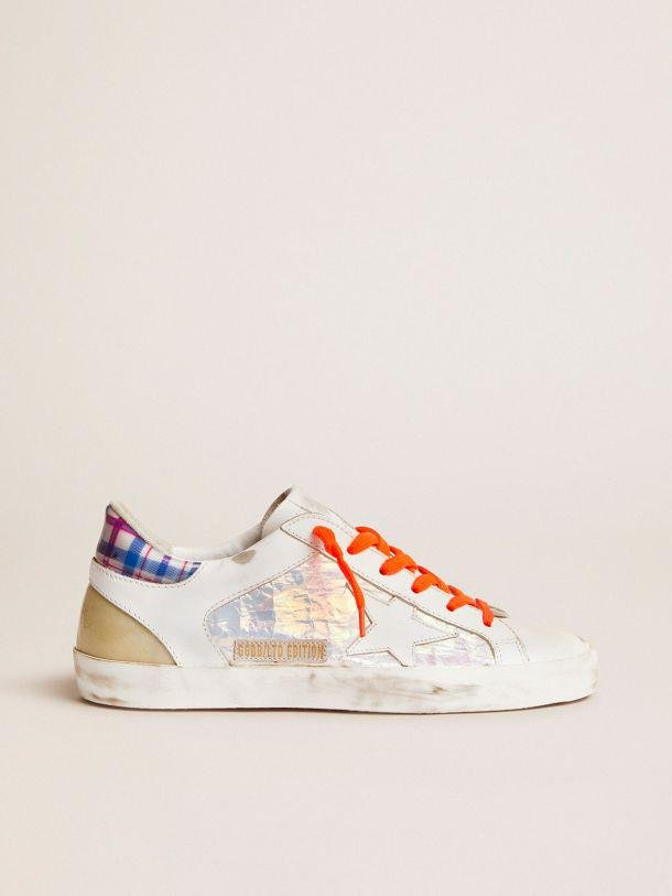 Women's Limited Edition LAB Super-Star sneakers with holographic and tartan upper