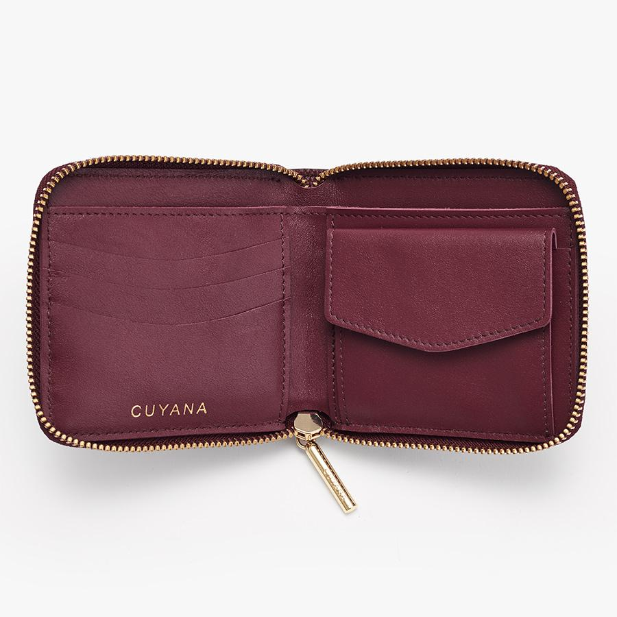 Women's Small Classic Zip Around Wallet in Merlot | Pebbled Leather by Cuyana 2