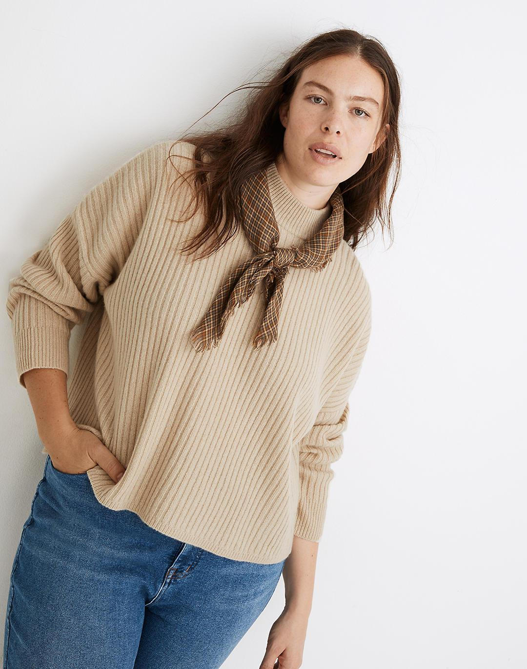 (Re)sourced Cashmere Ribbed Mockneck Pullover Sweater