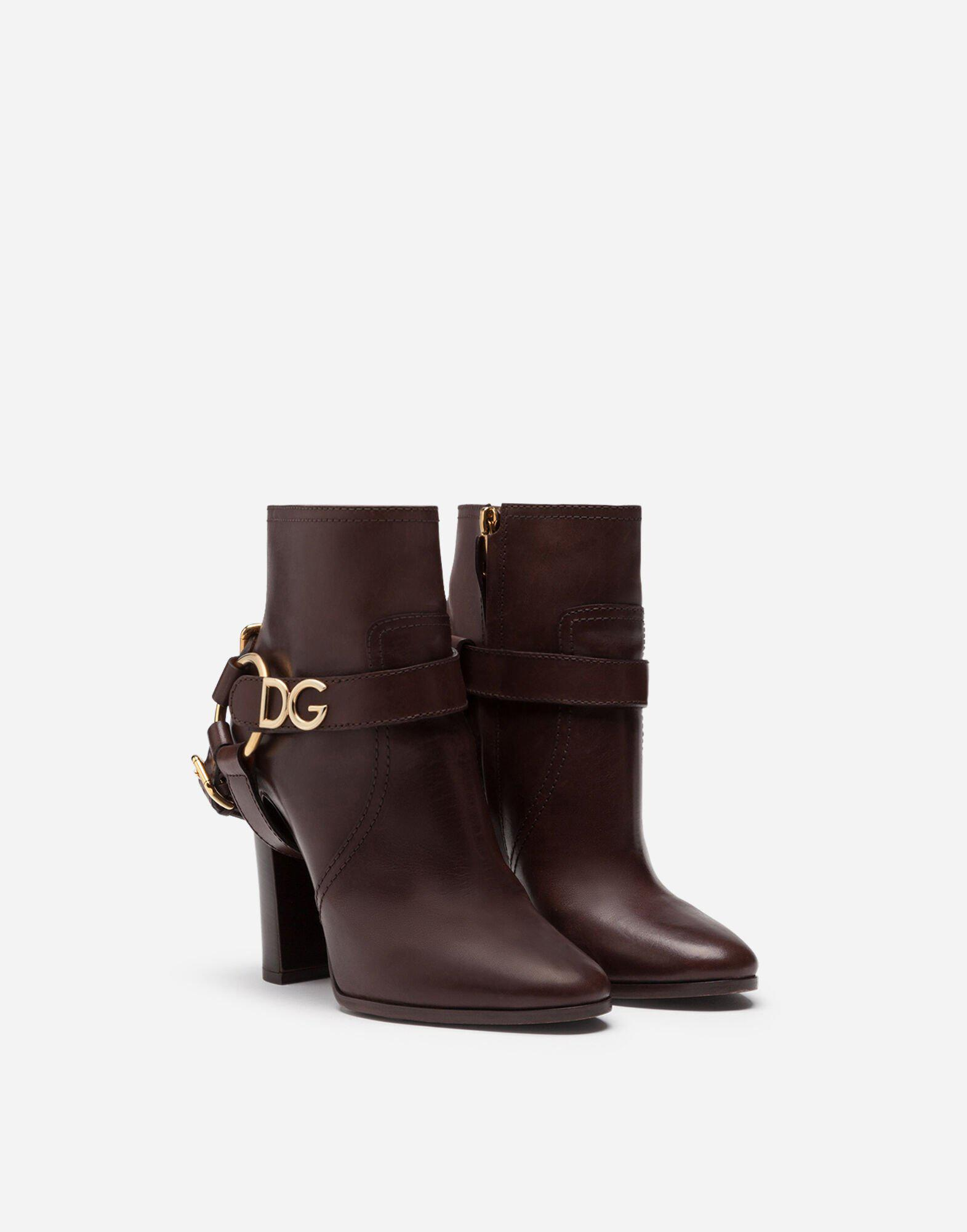 Ankle boots in cowhide with DG bracket logo 1