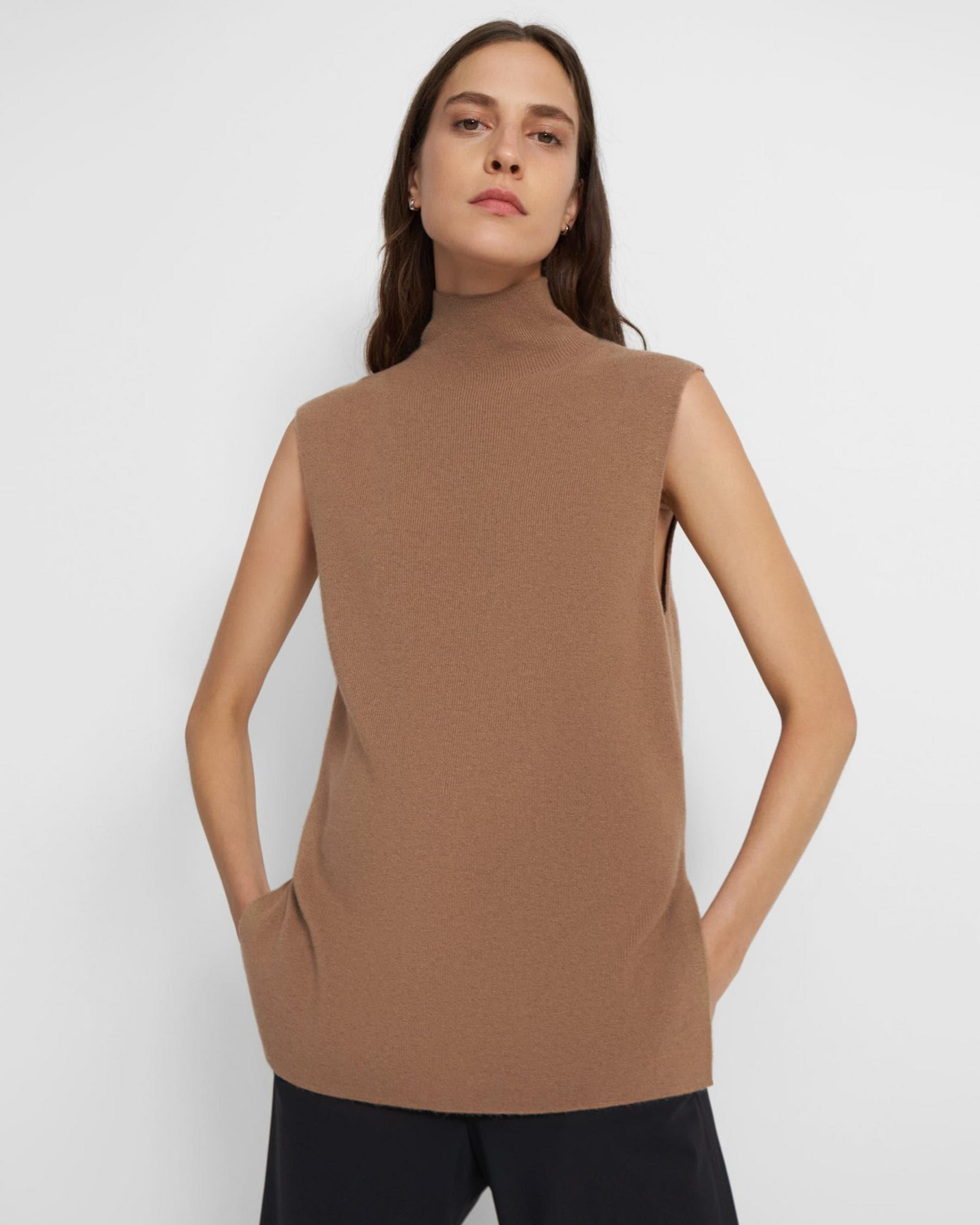 Mock-Neck Shell Top in Cashmere
