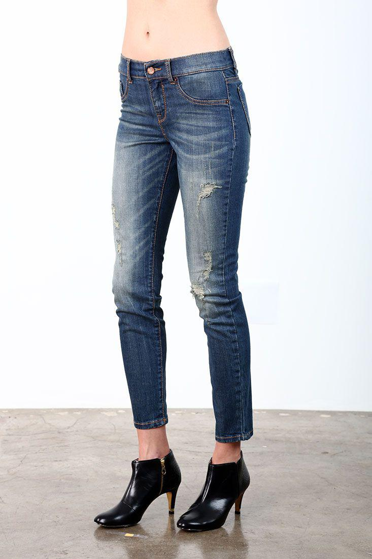 Hi-Wire Destroyed Wash Light Yellow Tint Ankle Skinny Jeans
