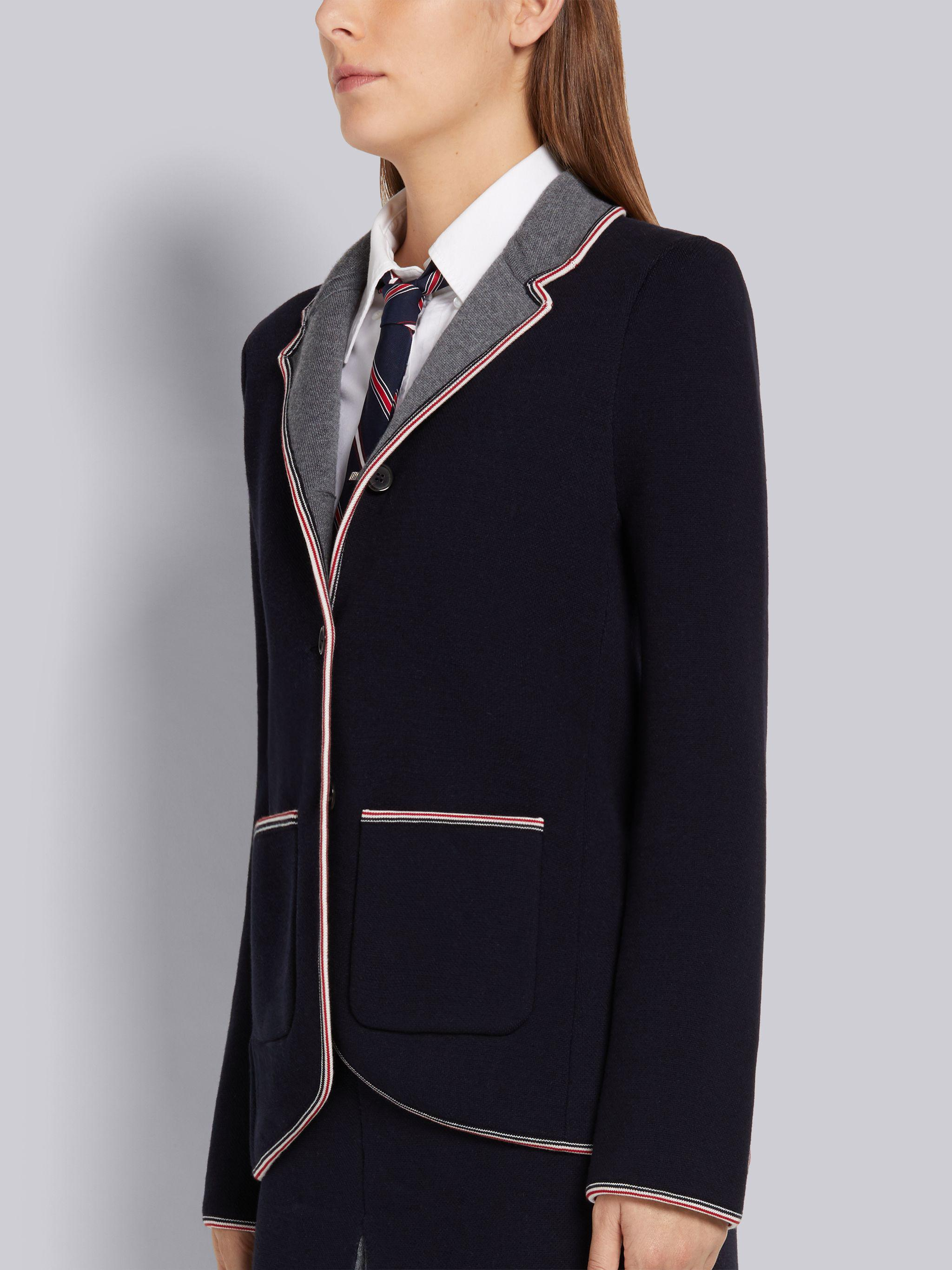 Navy Cotton and Merino Jersey Double Face Stripe Pique Tipping Sport Coat 1