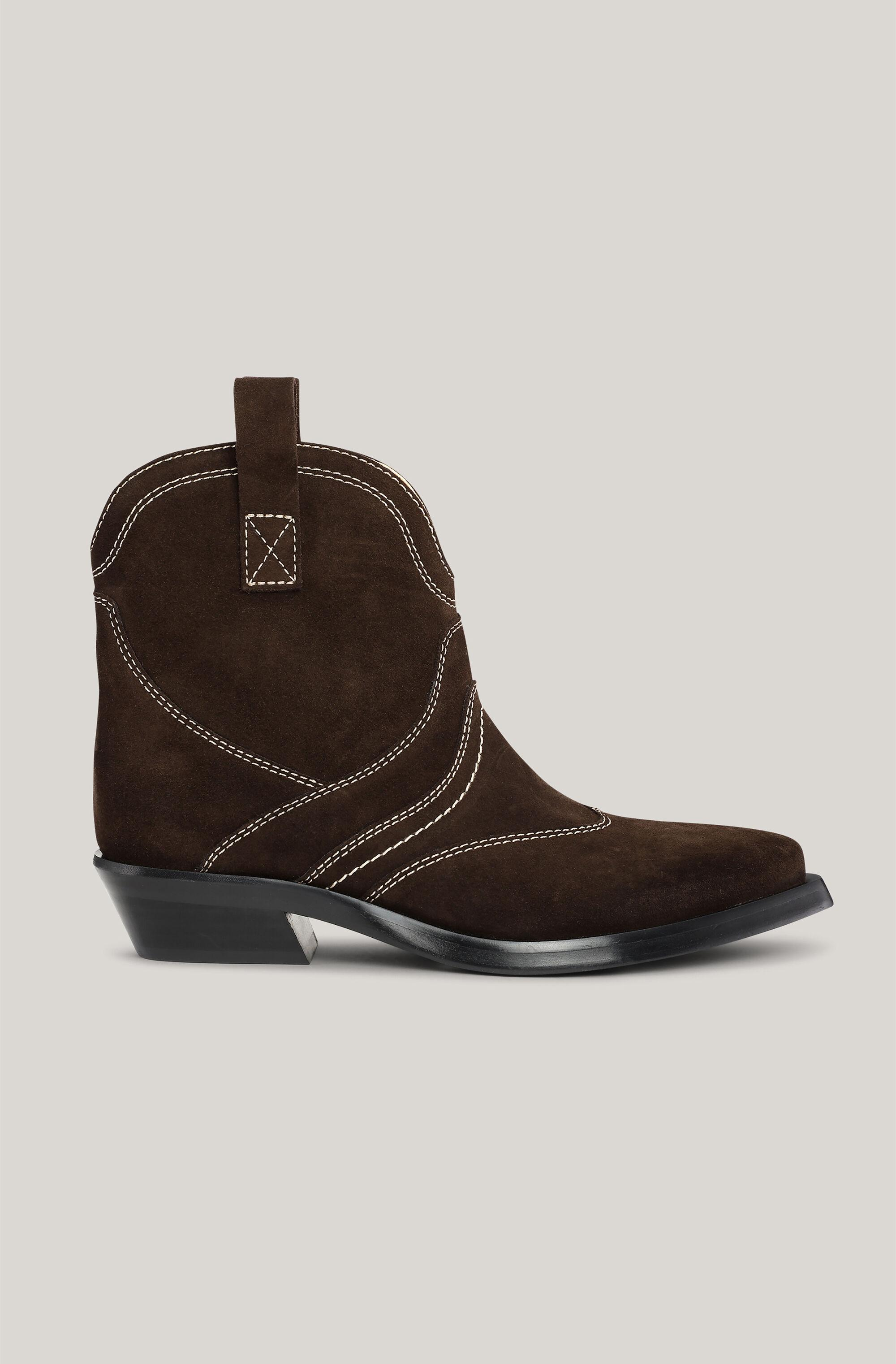 Suede Western Low Ankle Boots