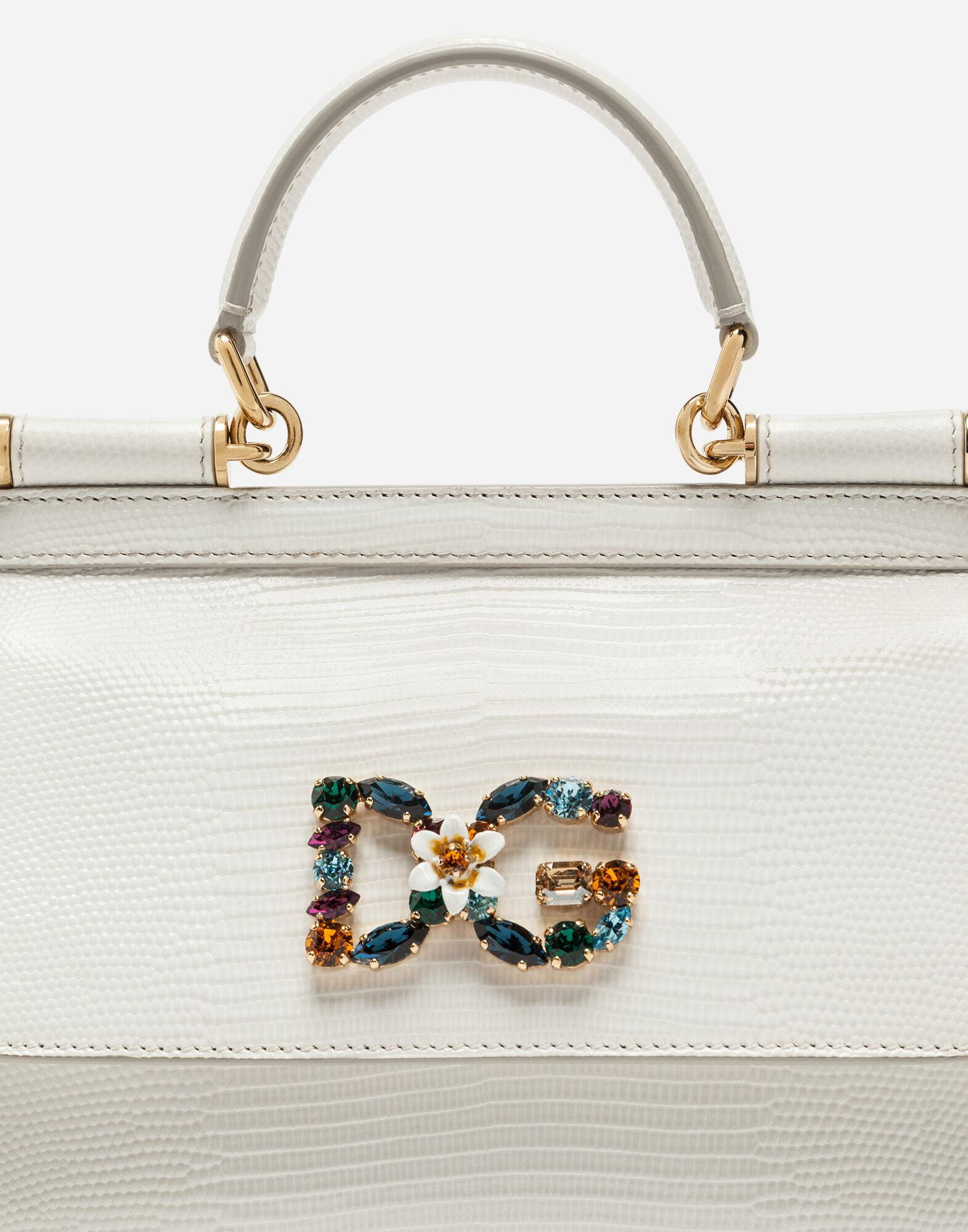 Small calfskin Sicily bag with iguana-print and DG crystal logo patch 3