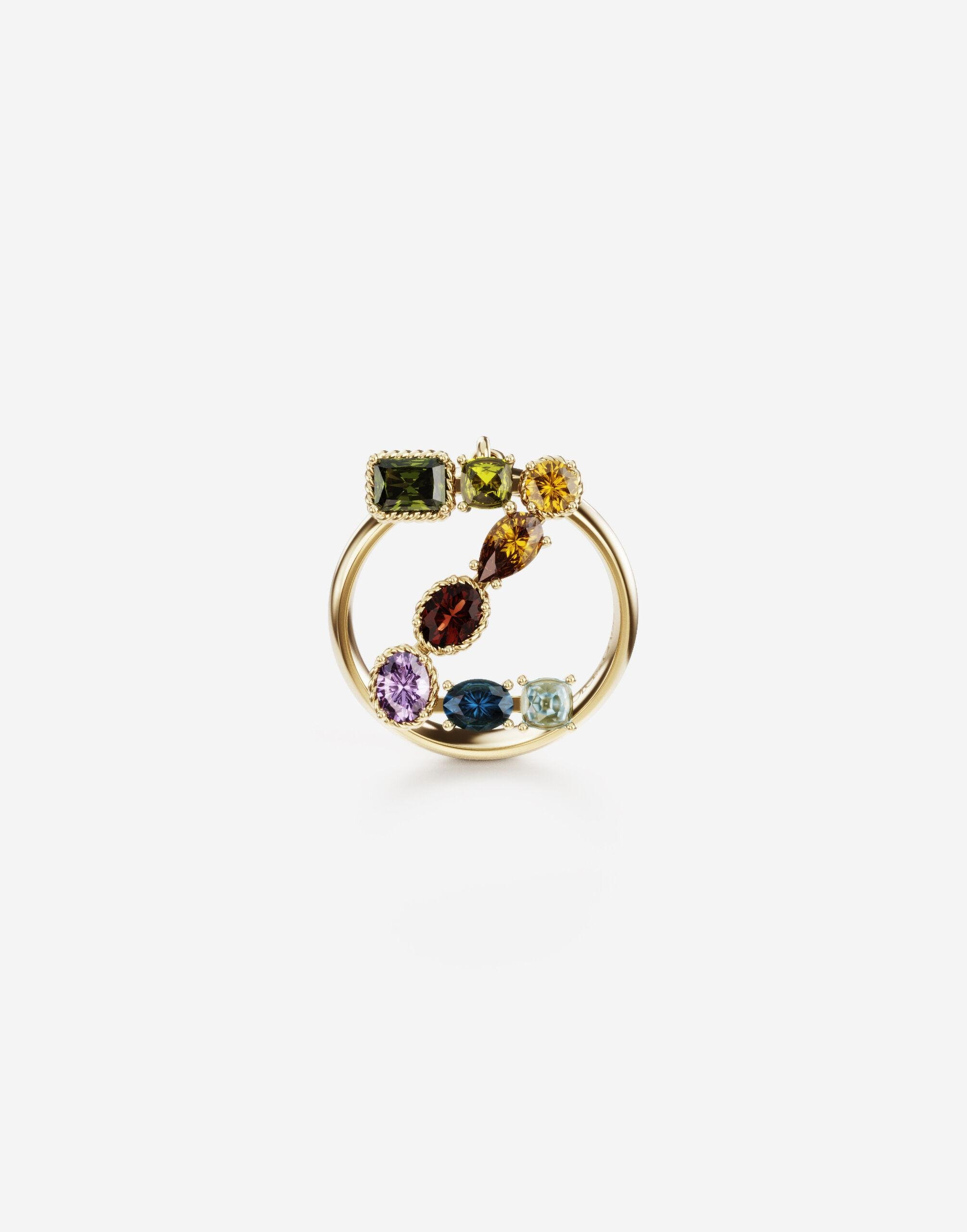 Rainbow alphabet Z ring in yellow gold with multicolor fine gems