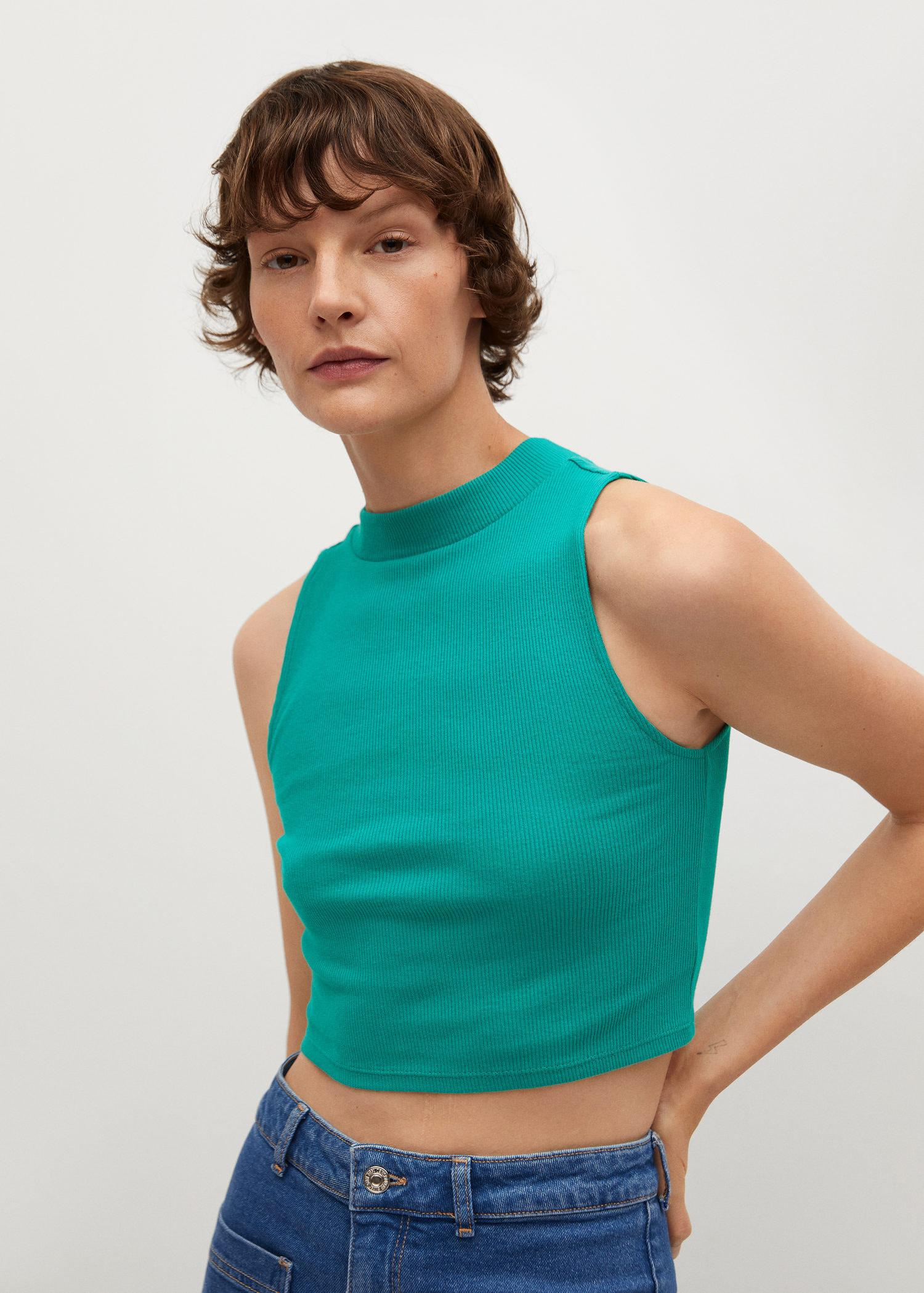 Ribbed cotton-blend top