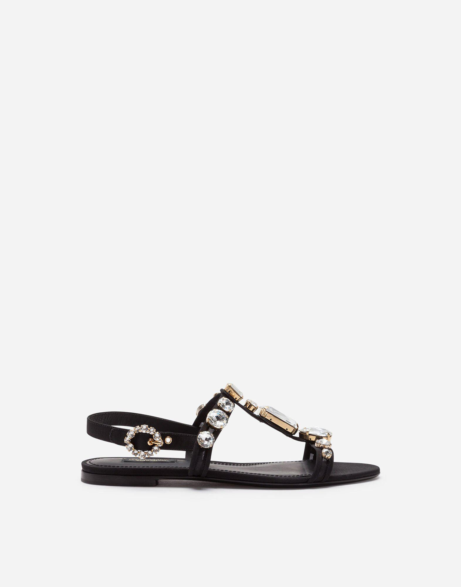 Mesh sandals with crystal embellishment