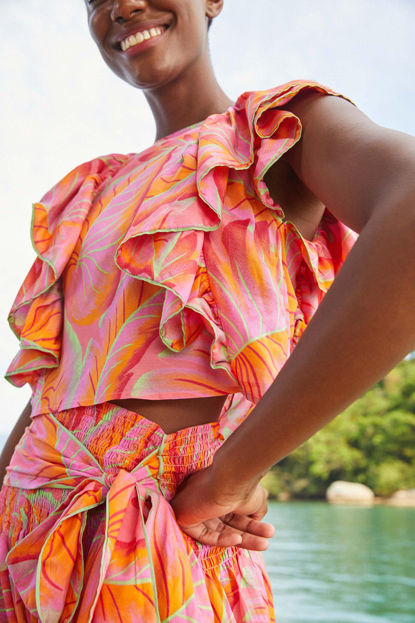 Bright Forest Frilled Top 2