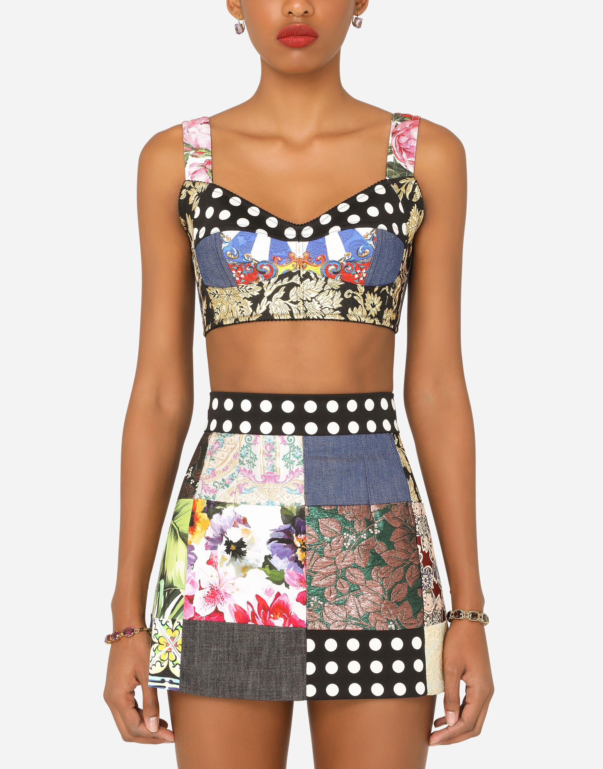 Patchwork drill and brocade jacquard bustier top