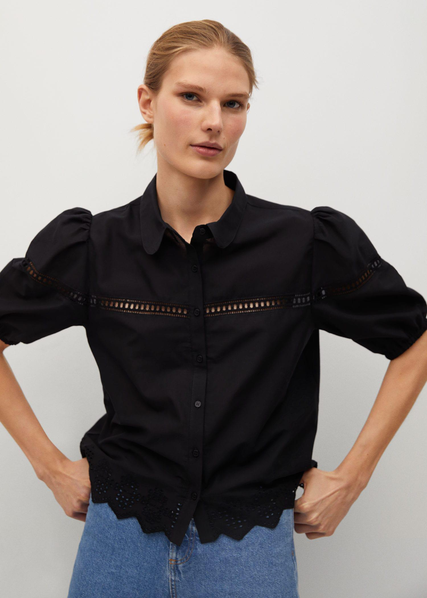 Cotton blouse with openwork detail