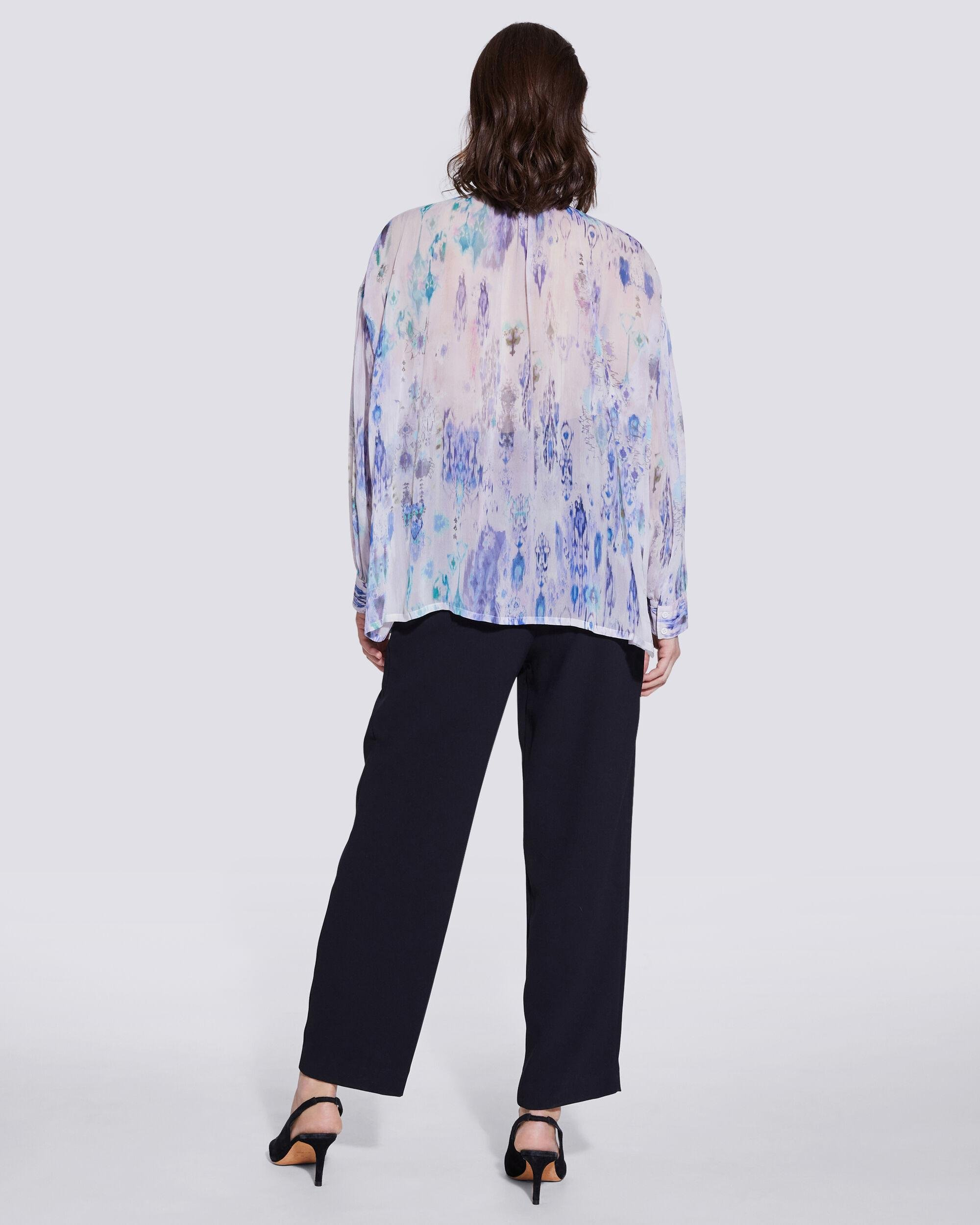 LADE TIE FRONT SHEER PRINTED BLOUSE 3