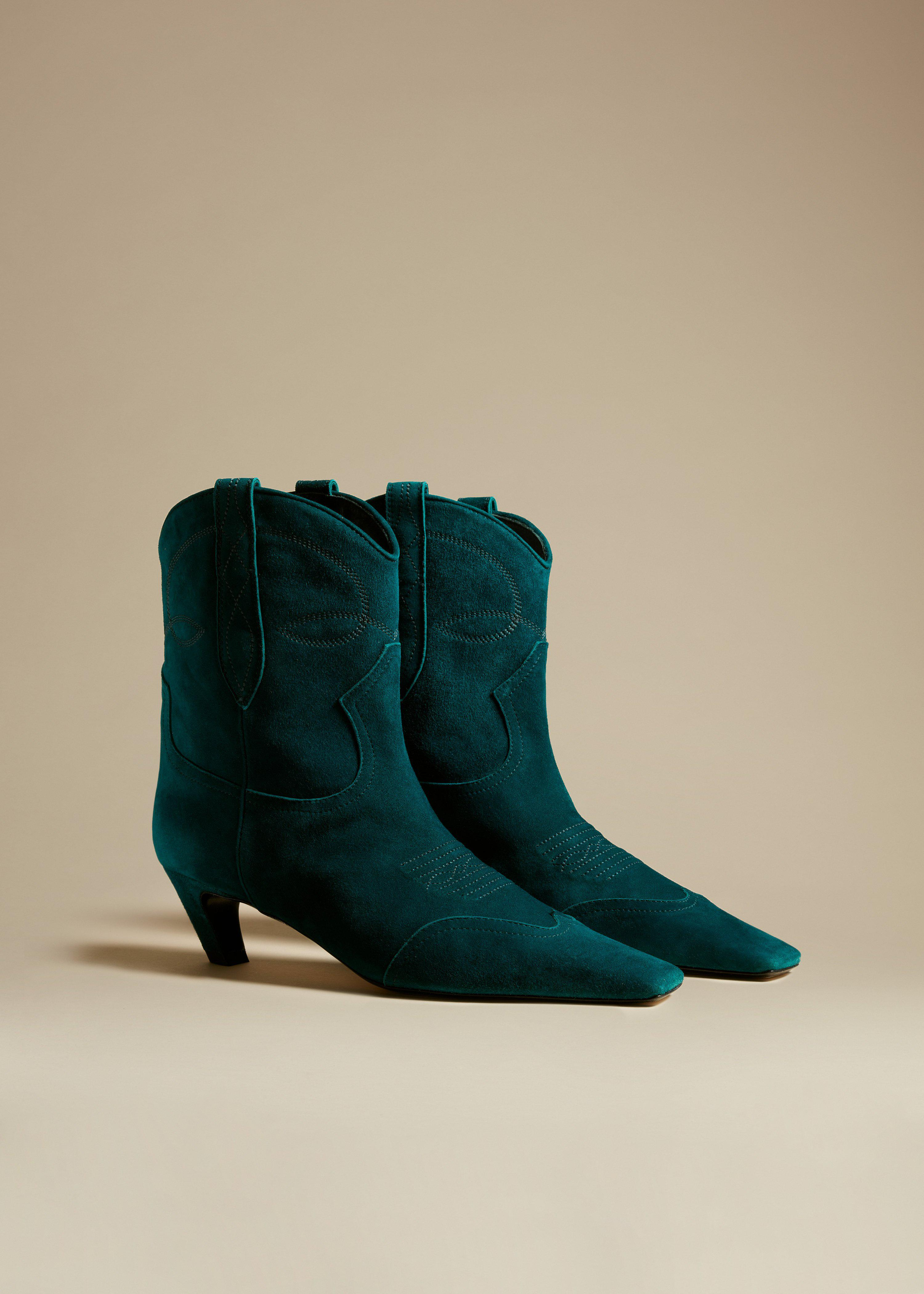The Dallas Ankle Boot in Dark Teal Suede 1