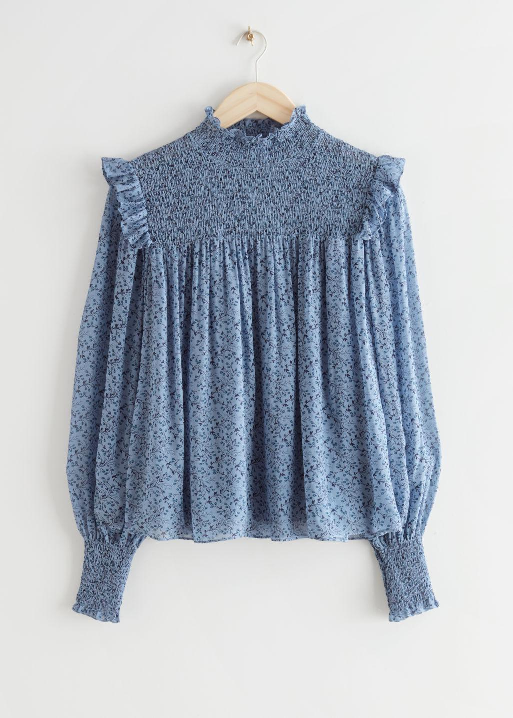 Smocked A-Line Blouse