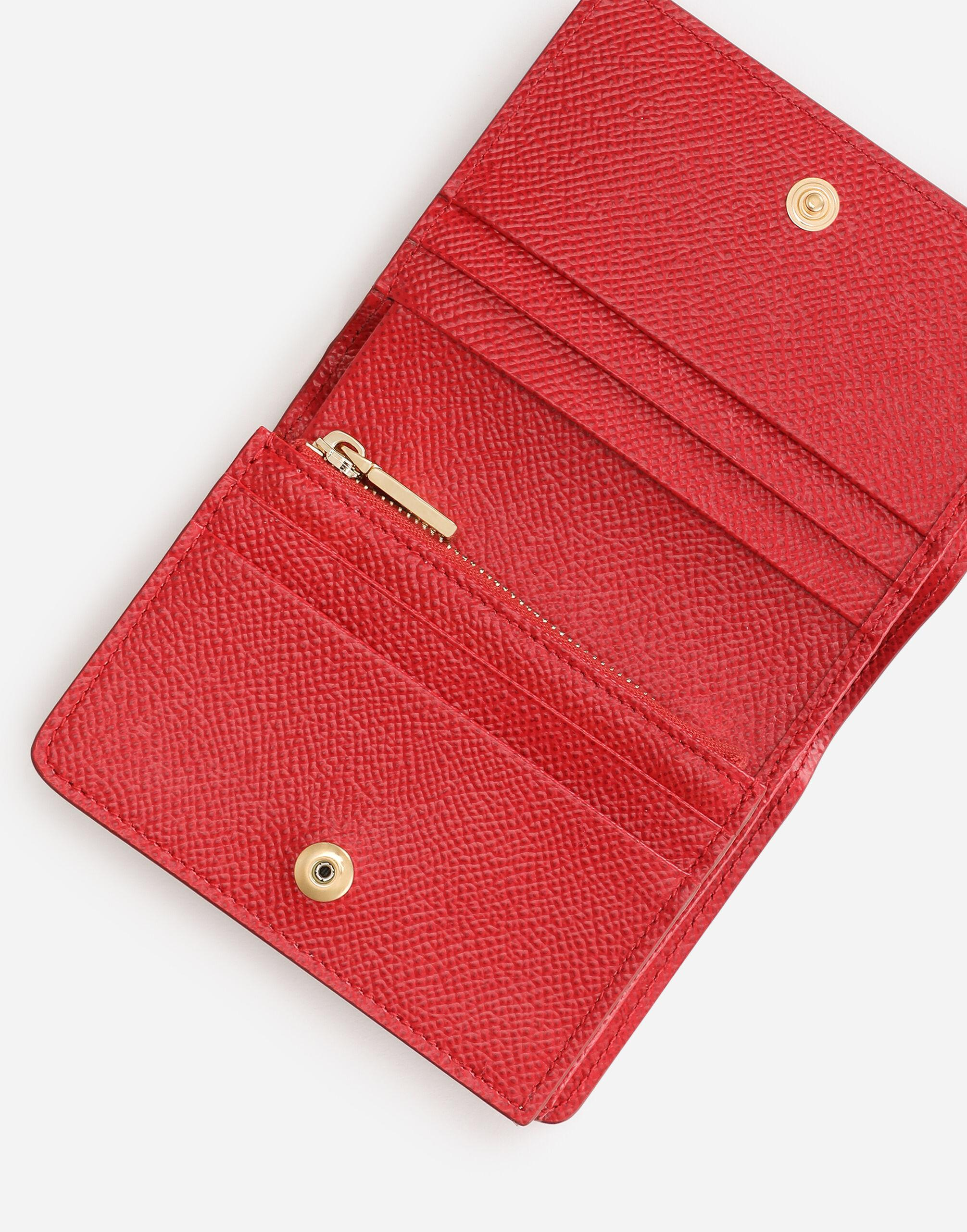 Small continental wallet in Dauphine calfskin with rhinestone DG detail 3