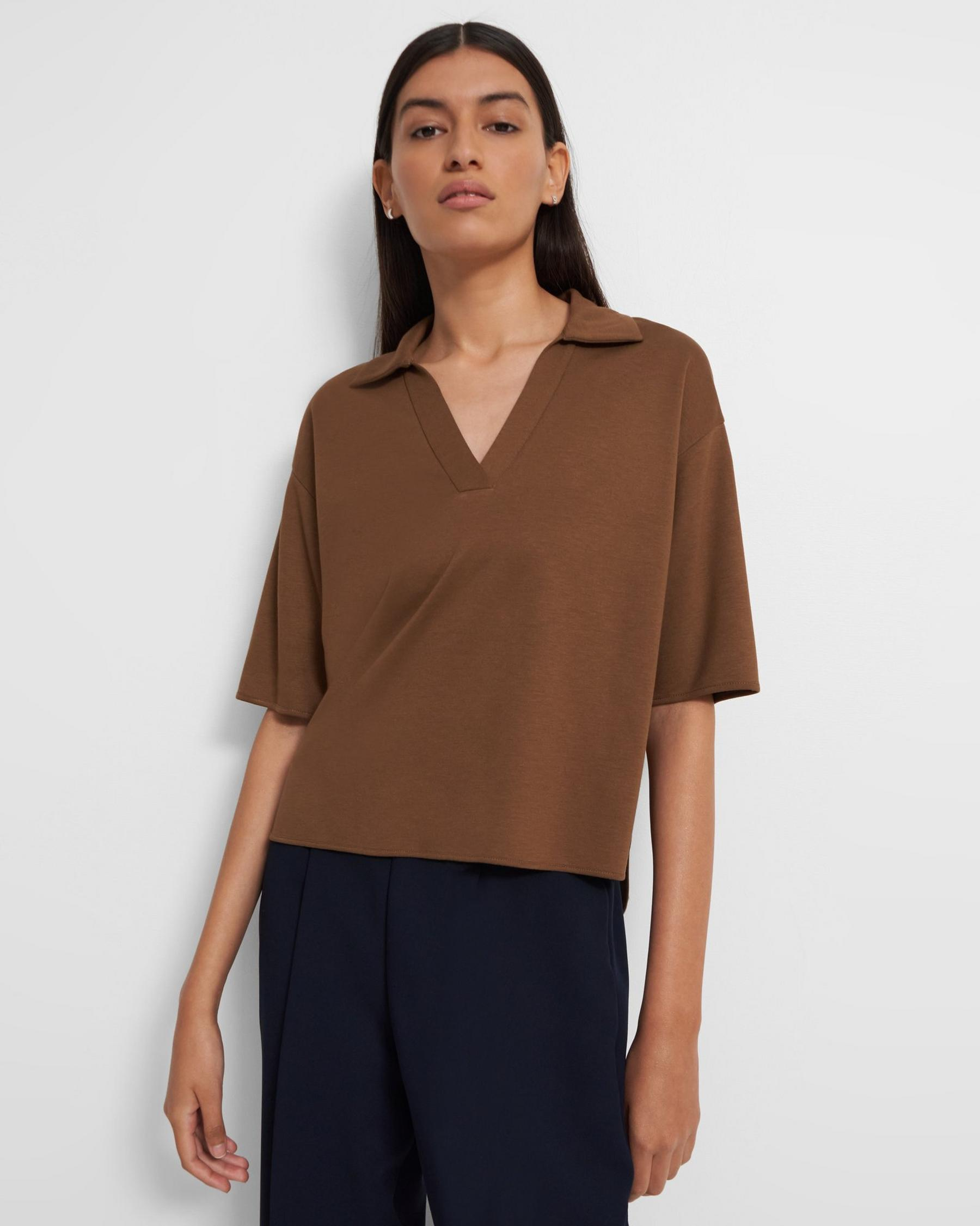 Cropped Polo Shirt in Viscose Jersey