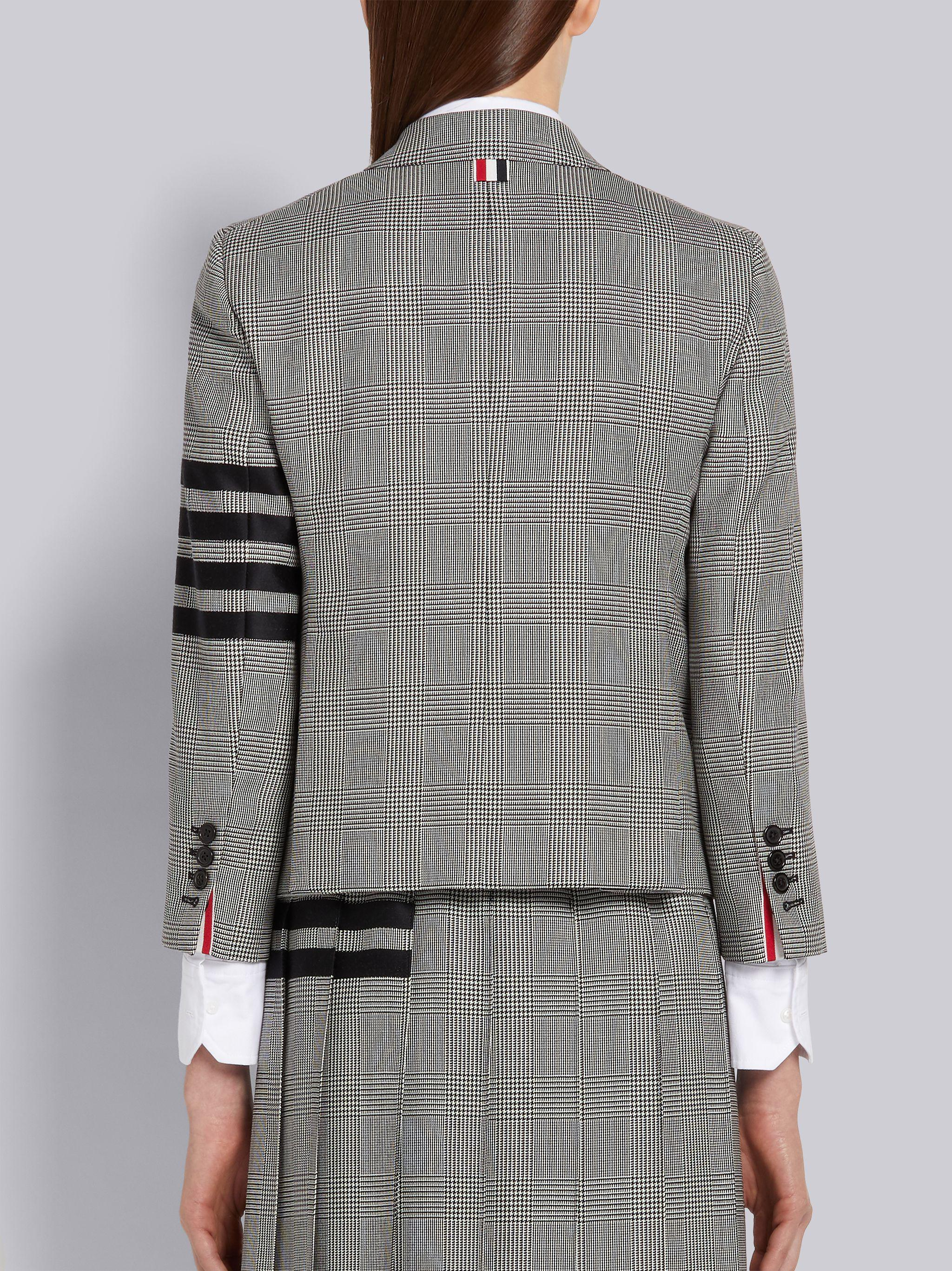 Black and White Wool Houndstooth High Armhole 4-Bar Jacket 2