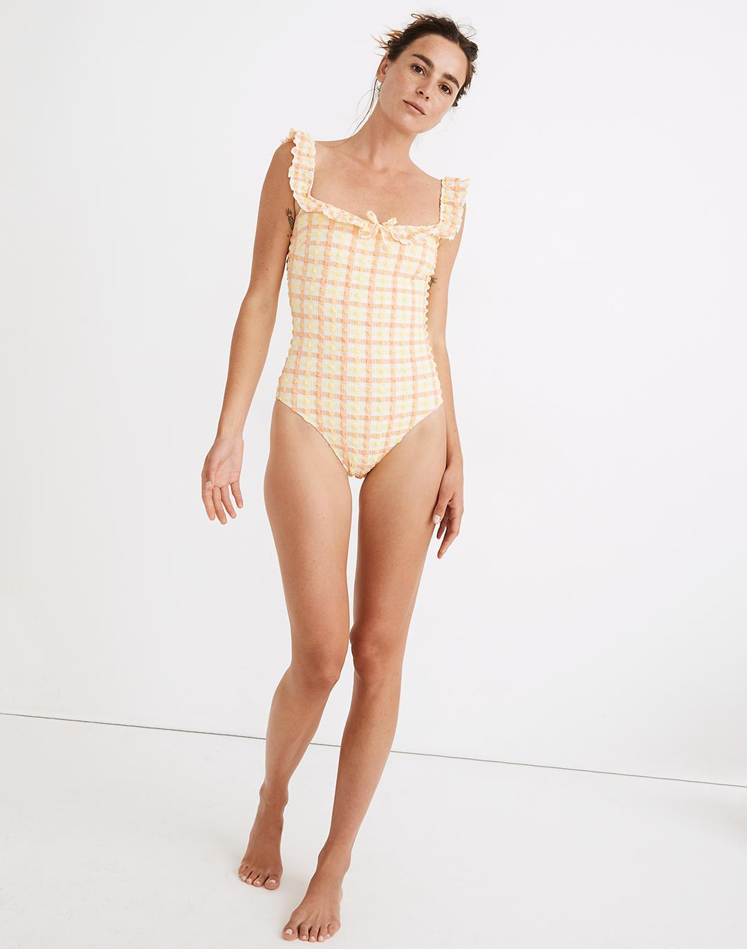 Madewell x Solid & Striped® Amelia One-Piece Swimsuit in Seersucker Gingham