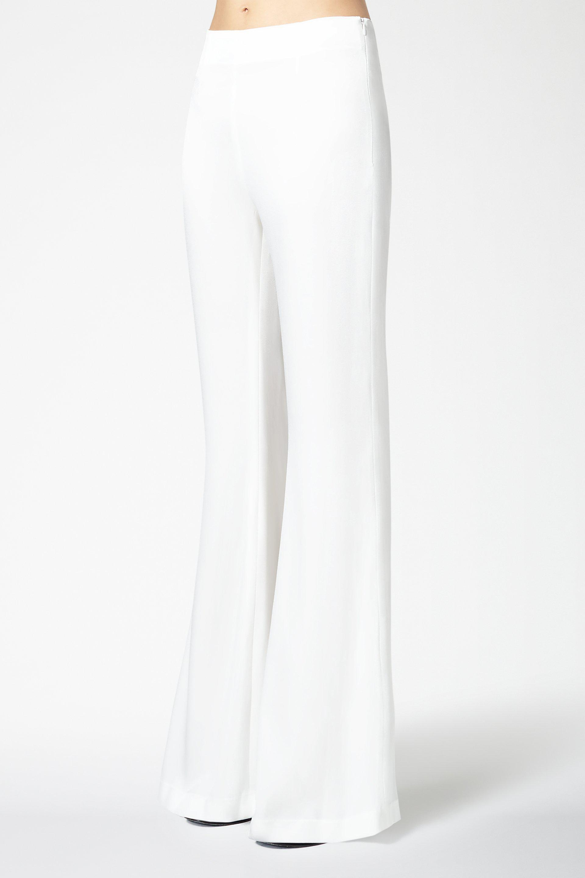 High Waisted Satin Trousers - White 1