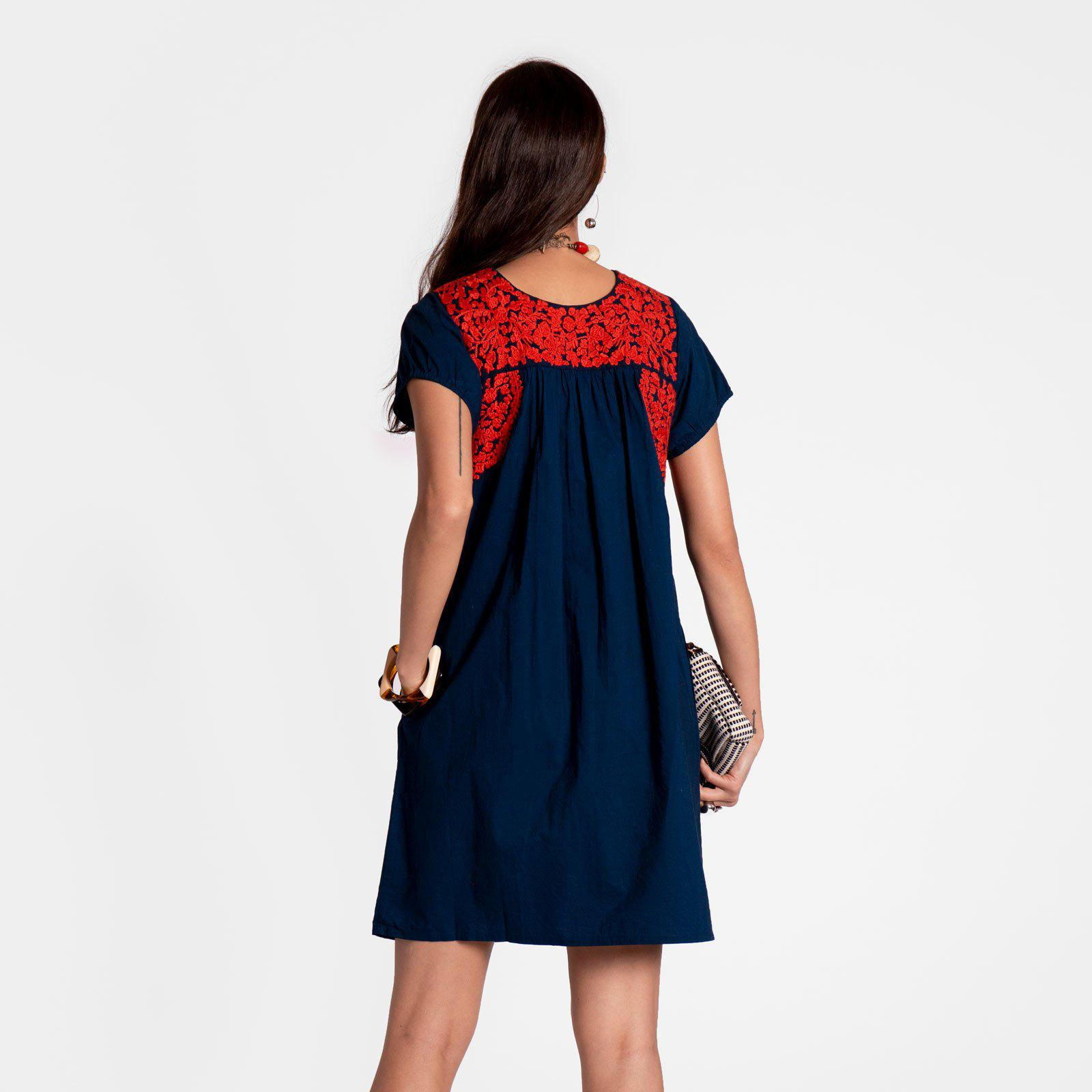 Floral Embroidered Lace Dress Navy Red 1