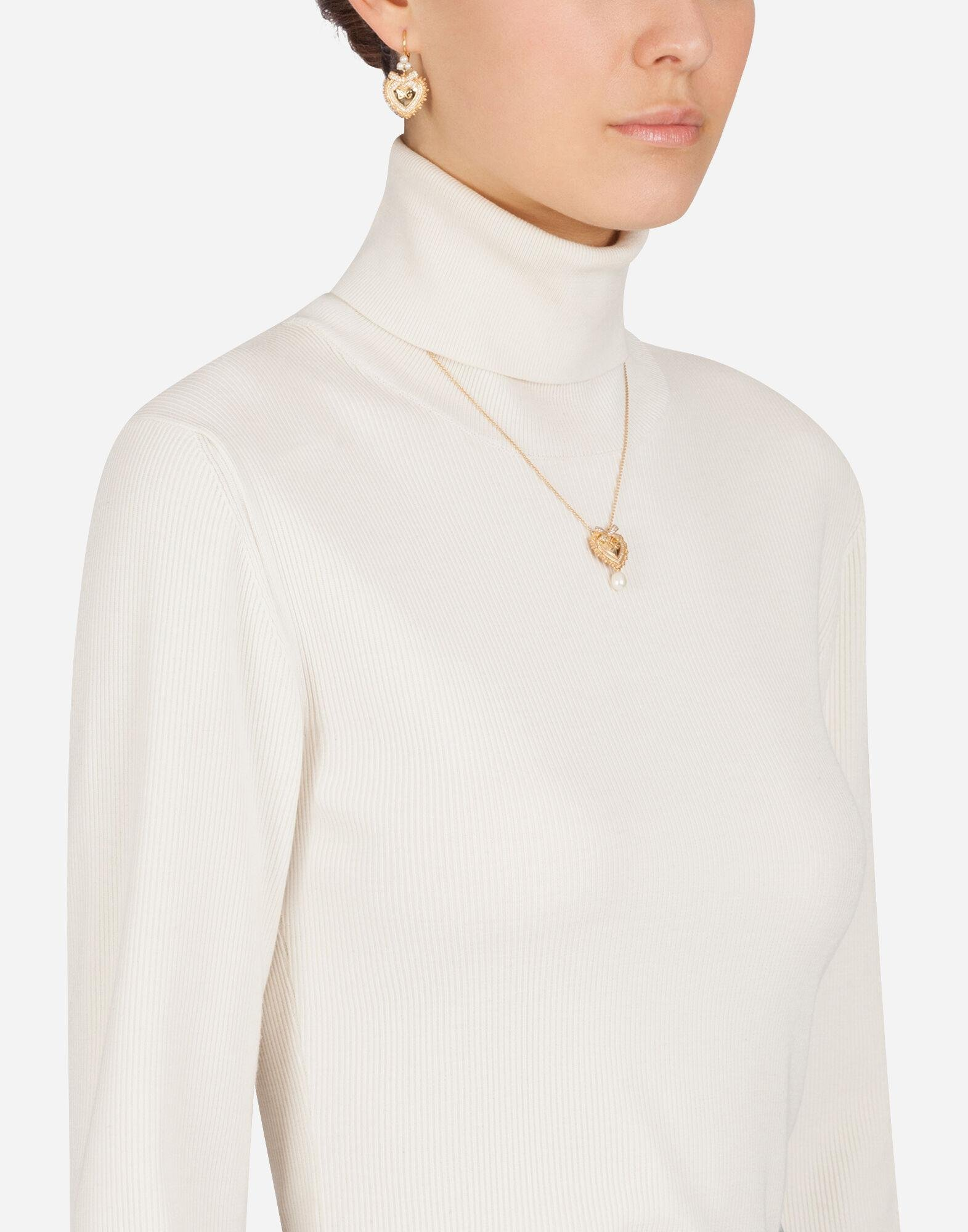 High neck sweater in ribbed wool 4