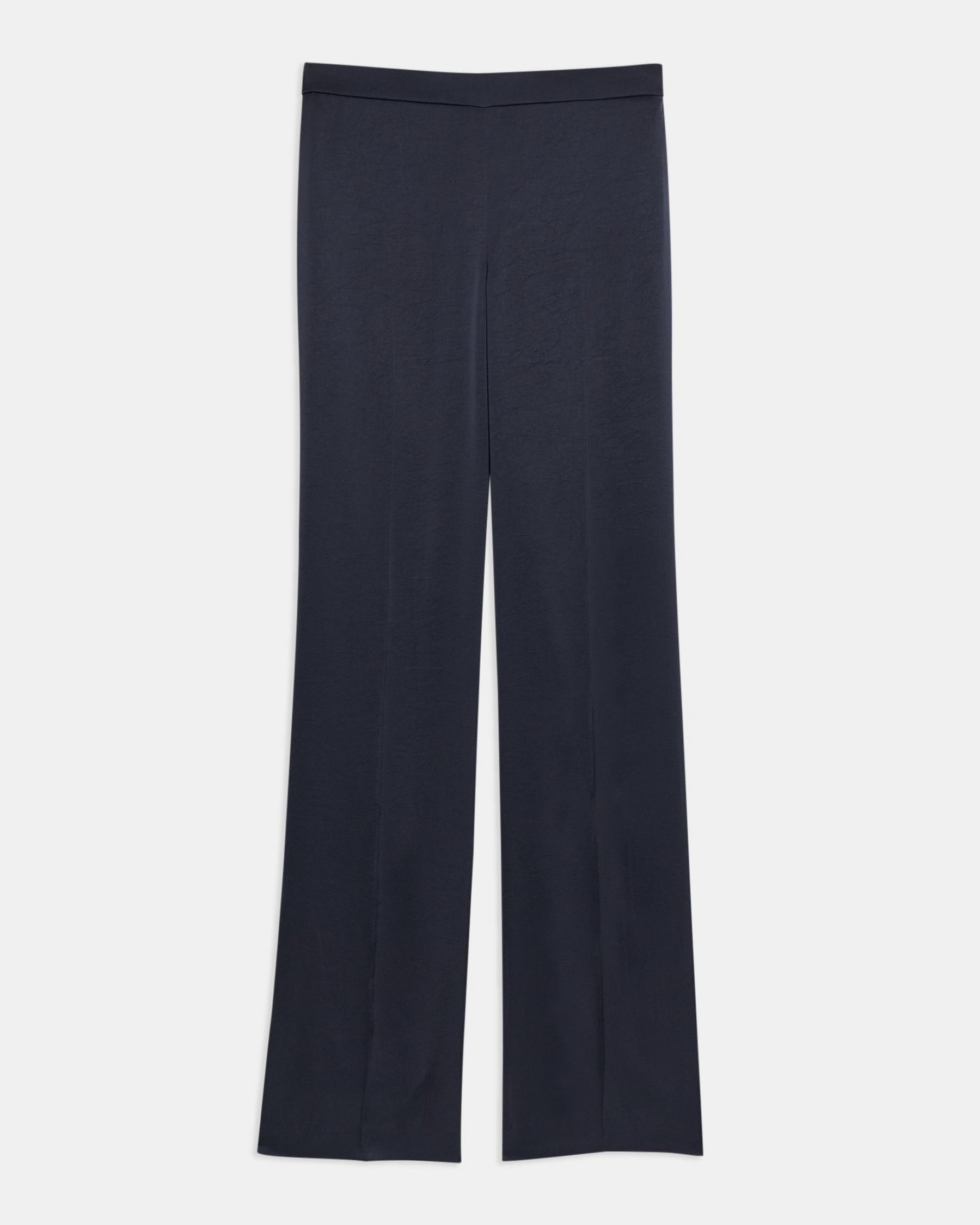 Straight-Leg Pull On Pant Pant in Crushed Satin 4