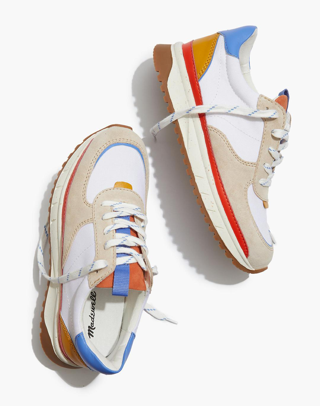 Kickoff Trainer Sneakers in Recycled Nylon, Suede and Leather