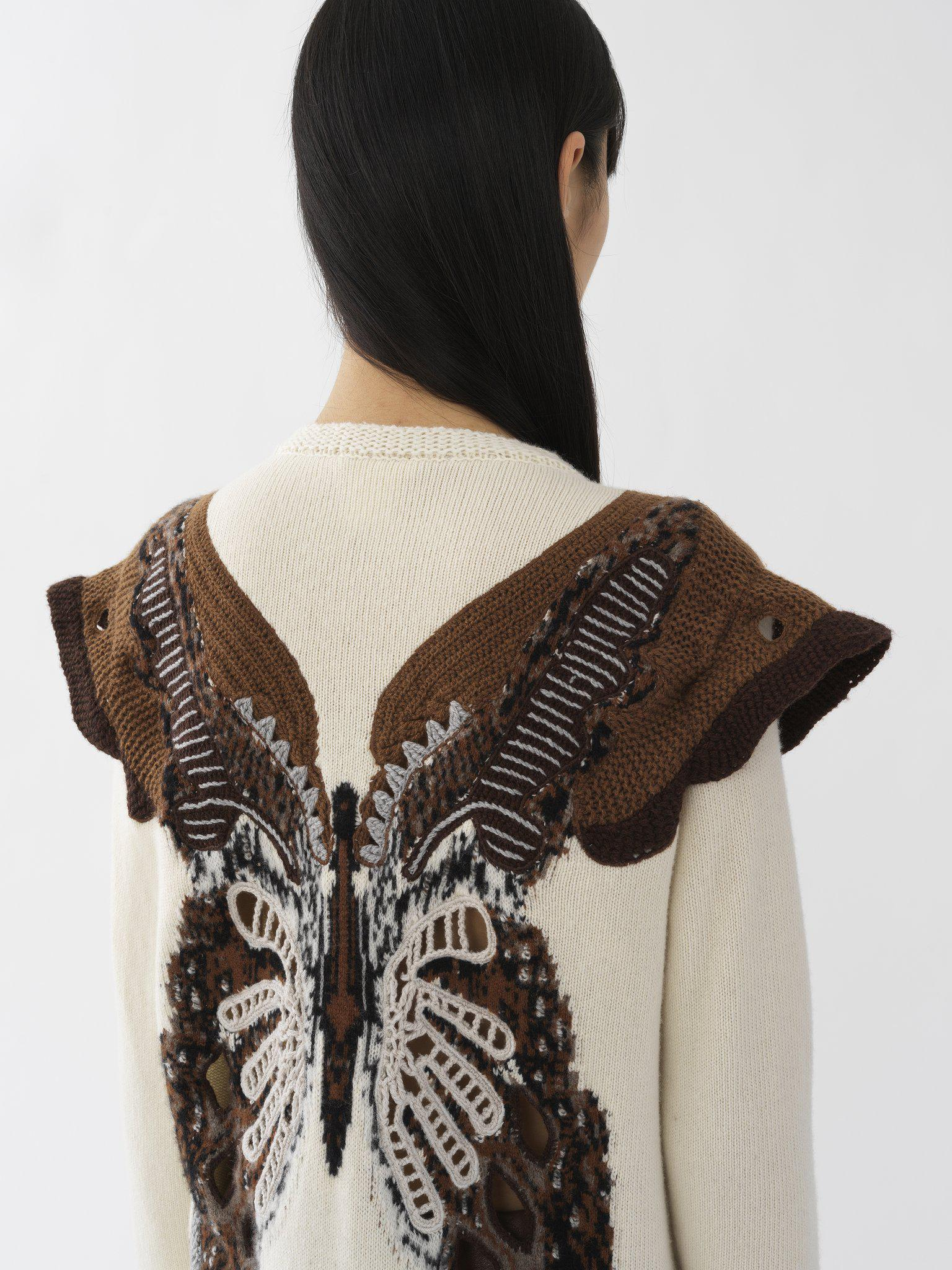 KNIT SWEATER WITH CROCHET BUTTERFLY INTARSIA