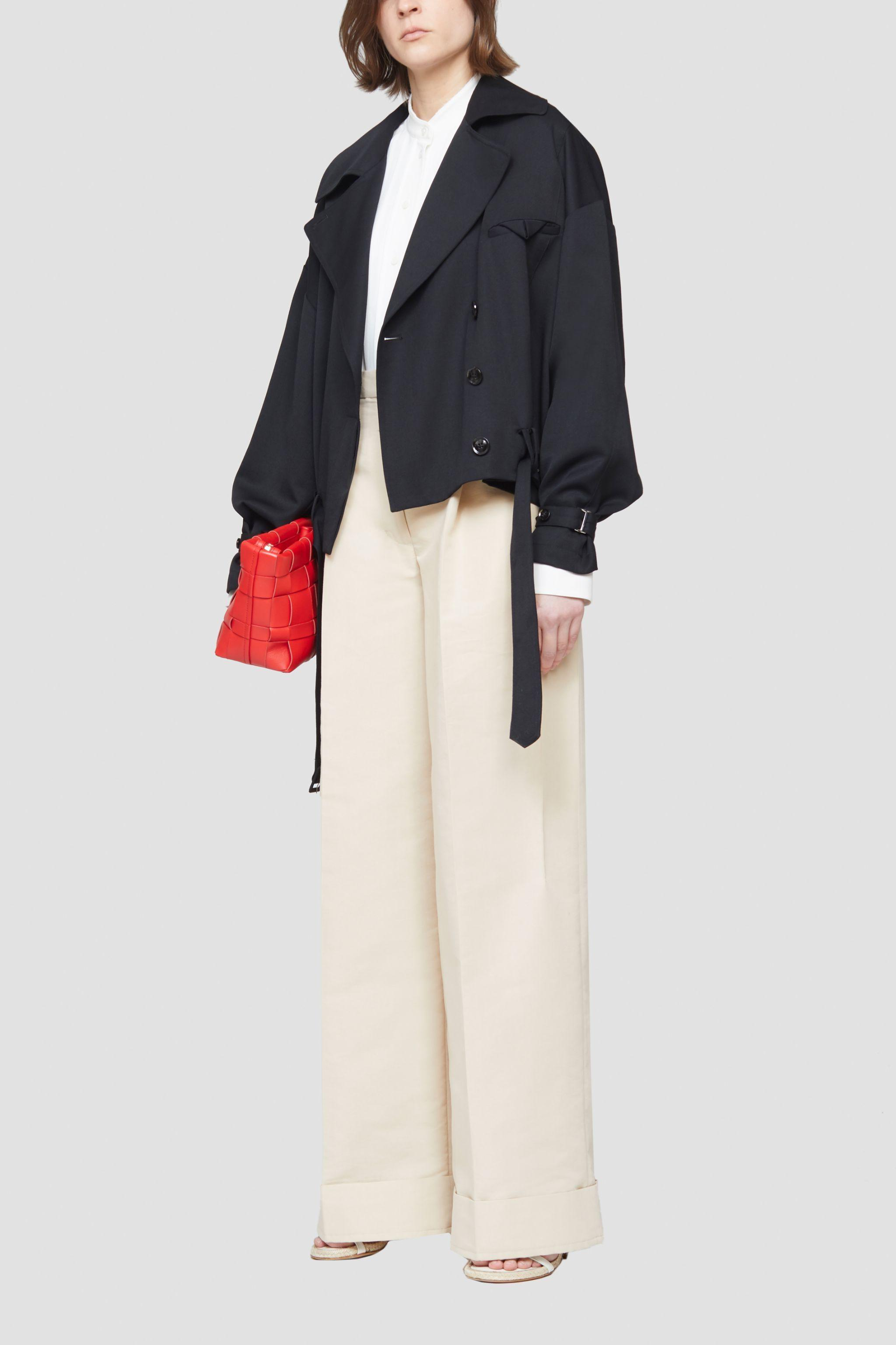 Buckled Cropped Wool Trench Coat