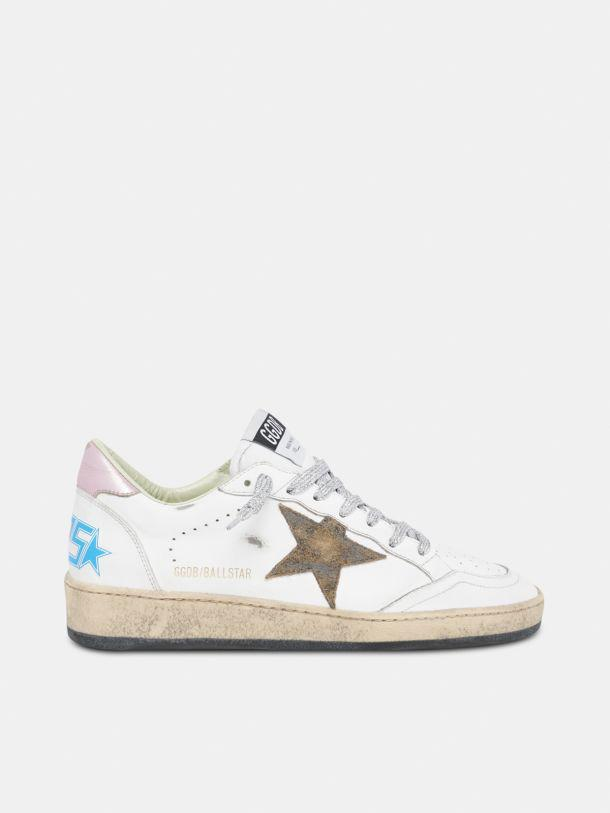 Ball Star sneakers with leopard-print star and pink laminated leather heel tab