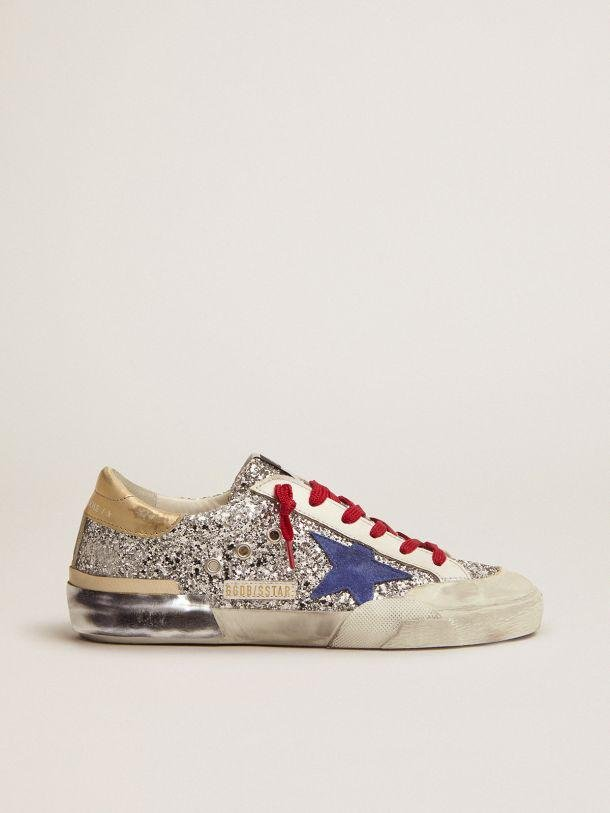 Super-Star sneakers in silver glitter and multi-foxing