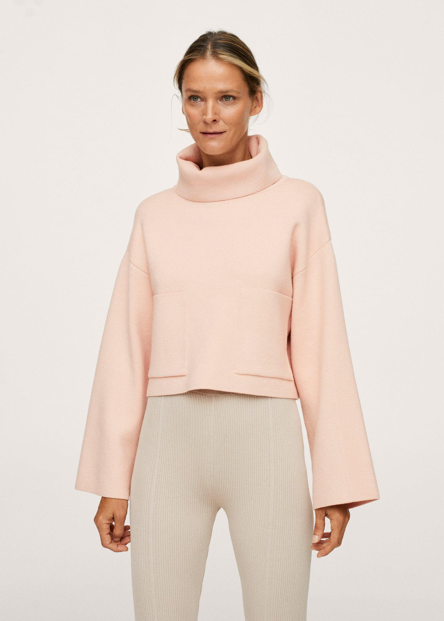 Funnel neck knit sweater