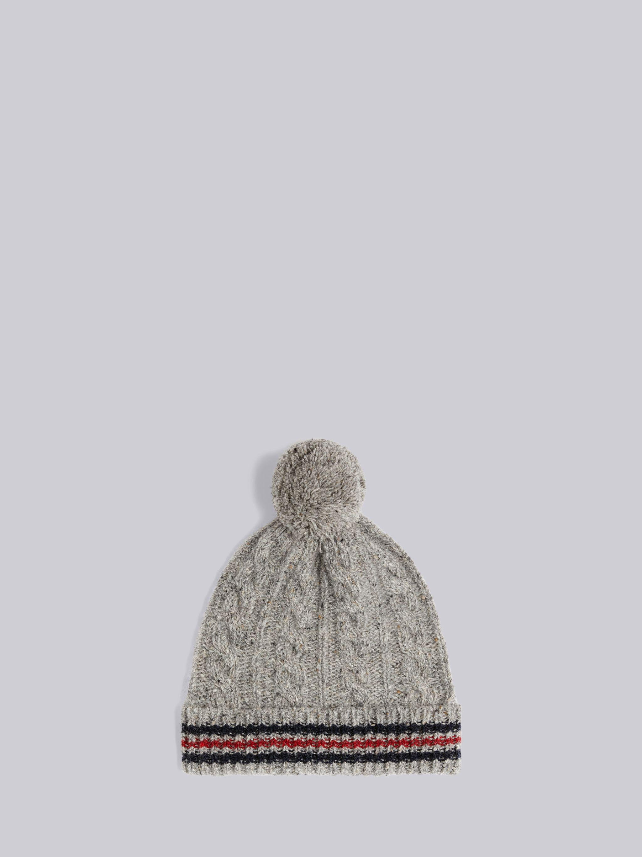 Light Grey Baby Cable Donegal Cricket Stripe Pom Pom Hat