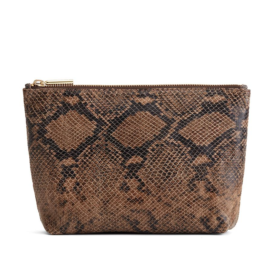 Women's Small Leather Zipper Pouch in Brown Snake | Snake-Embossed by Cuyana
