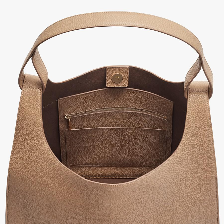 Women's Oversized Double Loop Bag in Cappuccino | Pebbled Leather by Cuyana 1