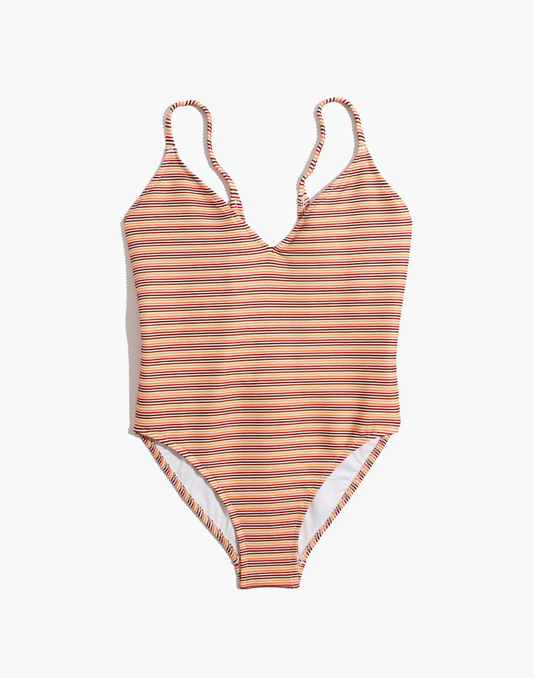 Madewell Ribbed Low-V One-Piece Swimsuit in Ombré Stripe 3