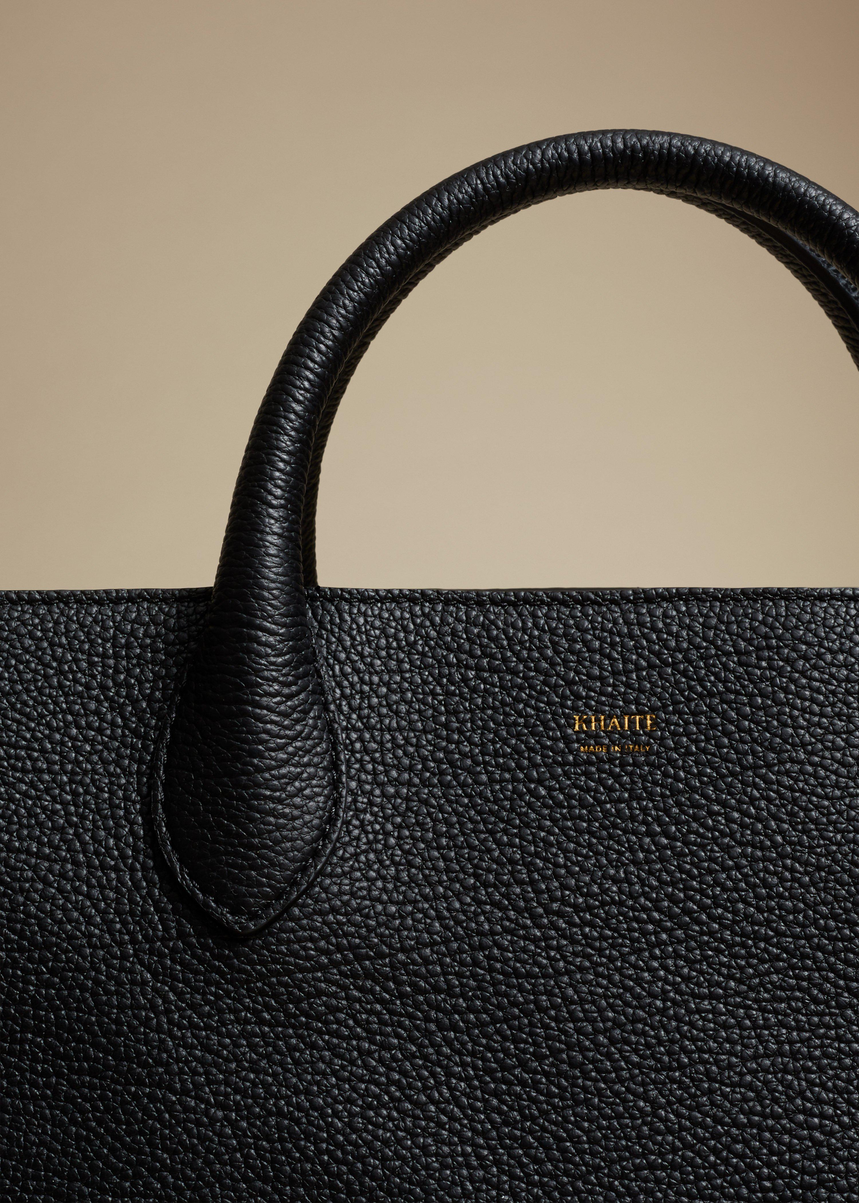 The Medium Amelia Tote in Black Grained Leather 2